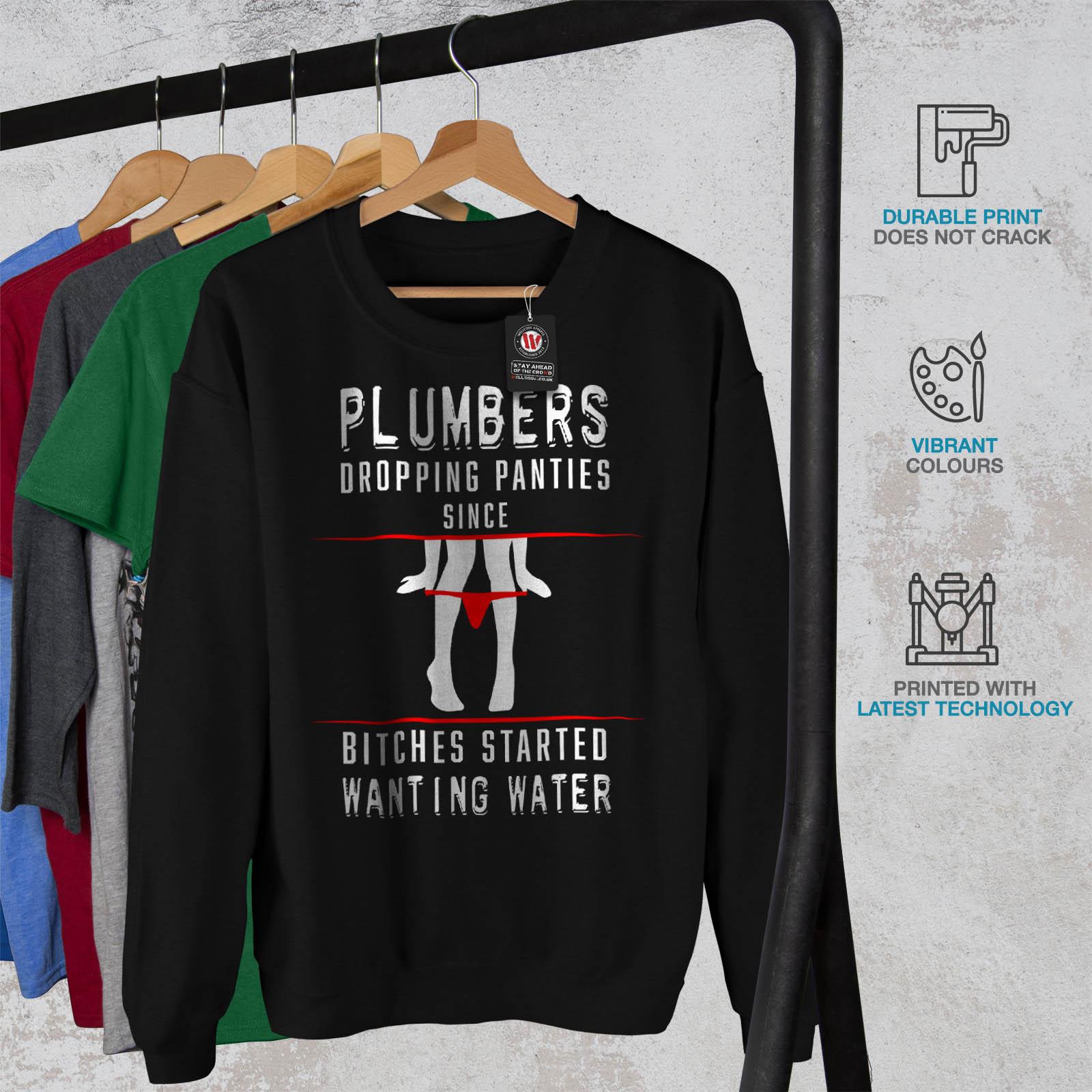 Funy Panties Pullover Black Droping da Casual Plumber uomo Wellcoda Felpa Jumper xXwYSq6x