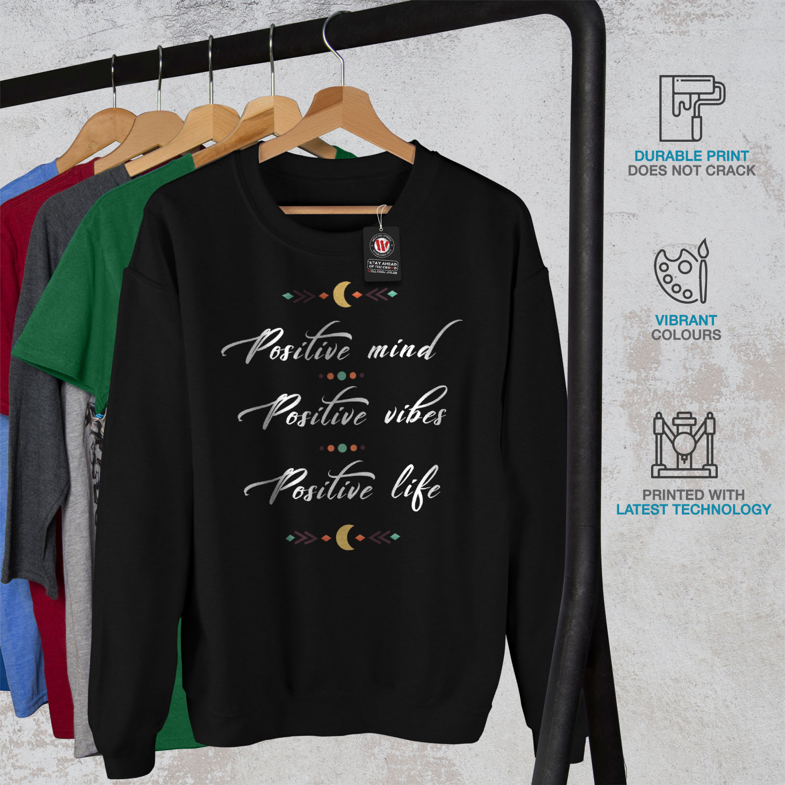 Casual Jumper Sweatshirt Vibes Mens Life Mind Wellcoda Pullover Black Positive 8aCHY