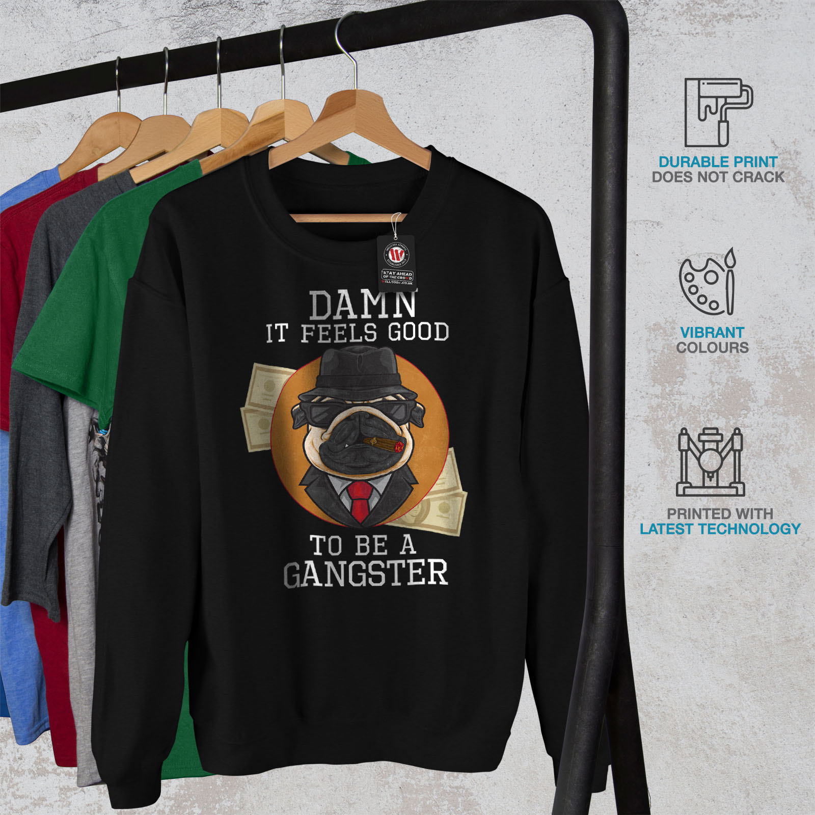 Pug Casual Mafia Jumper Mens Gangster Sweatshirt Puppy Pullover Black Wellcoda 7YXq5AHxH