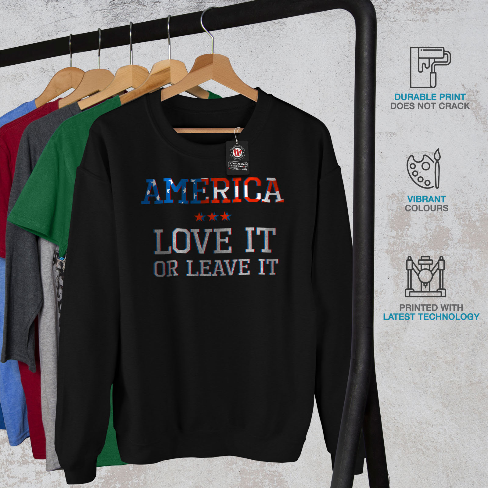 Casual Jumper Or America uomoLove Leave Wellcoda da Pullover Patriot Felpa Black WDHeIYE29b