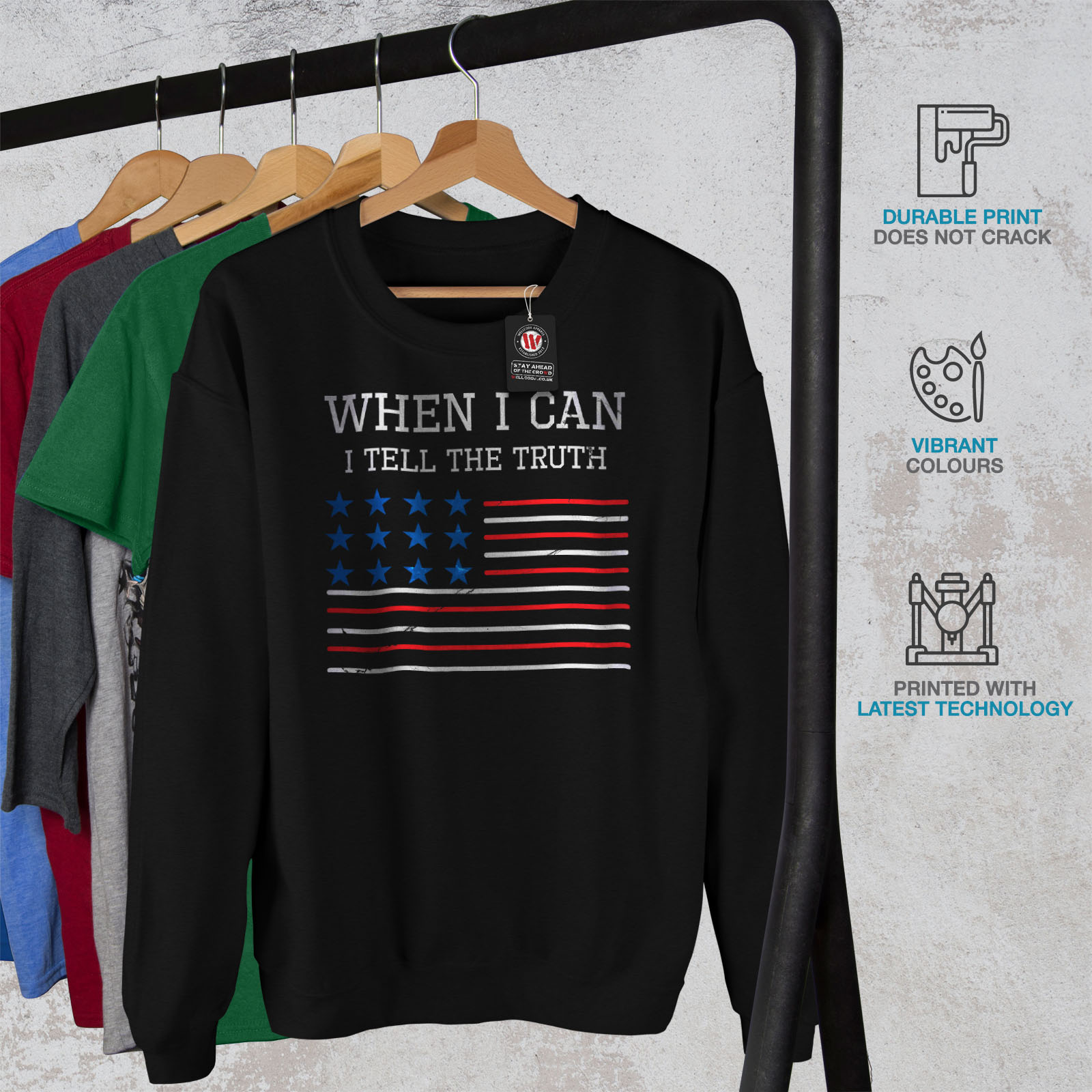 SweatshirtPull Wellcoda President Quote Truth Amᄄᆭricain Dᄄᆭcontractᄄᆭ Noir Amᄄᆭricain vwm8nON0