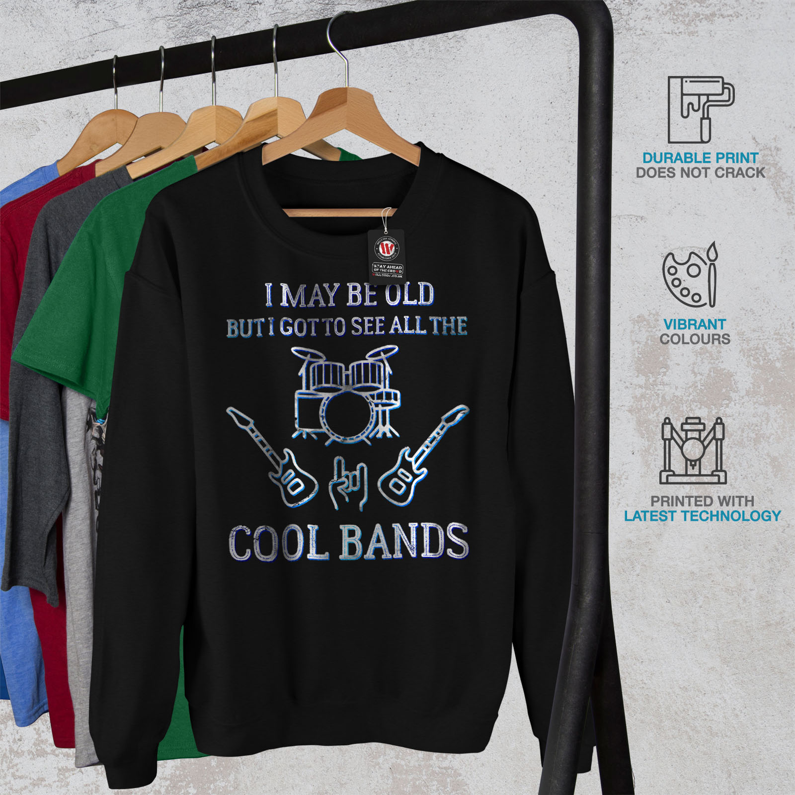 Bands Sweatshirt Cool Casual Pullover Wellcoda Mens Black Jumper Rock Seen Music 5wZcHqp