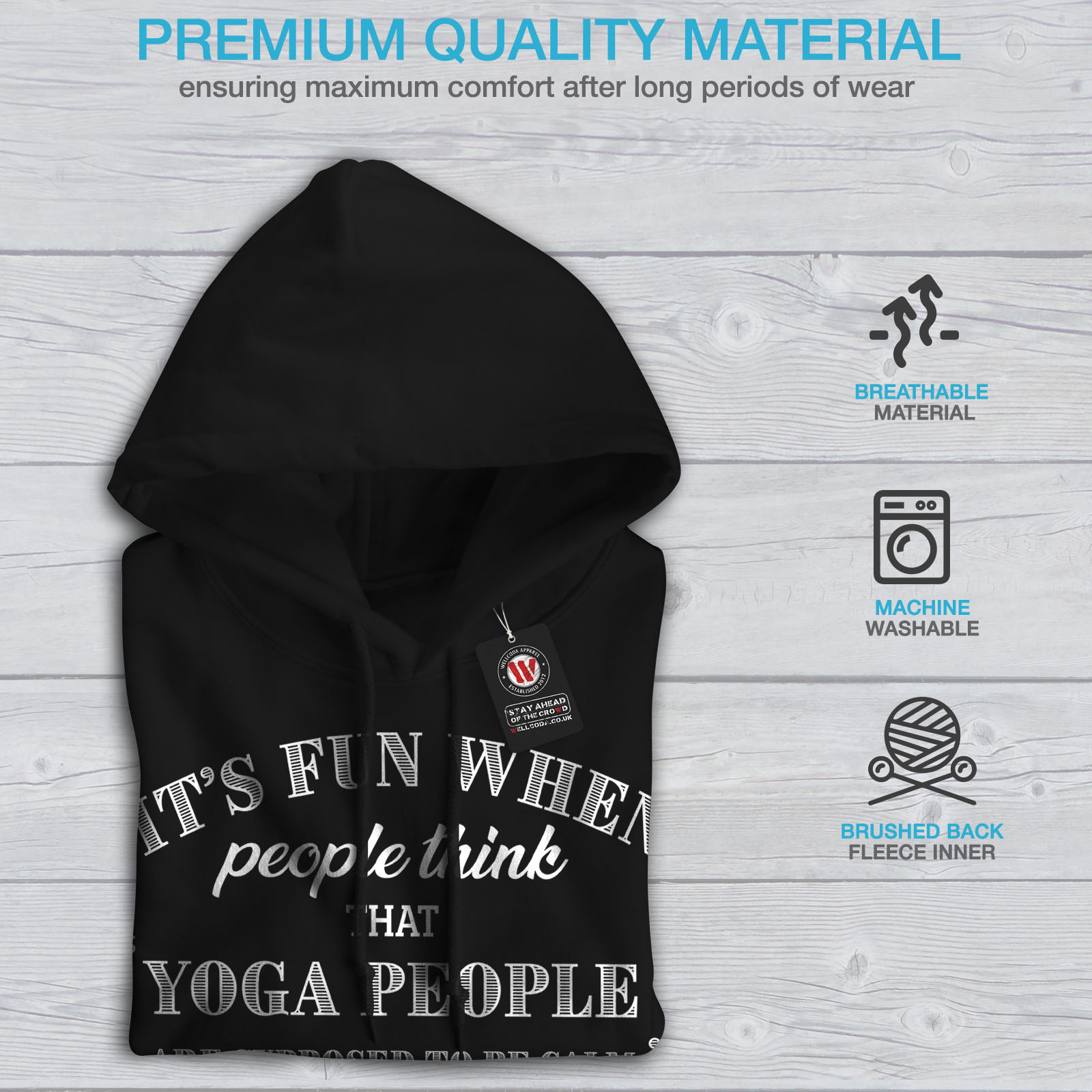Calm Casual Hoodie Yoga Nuts Sweatshirt Mindfulness Hooded Black Wellcoda Mens I7fSIU