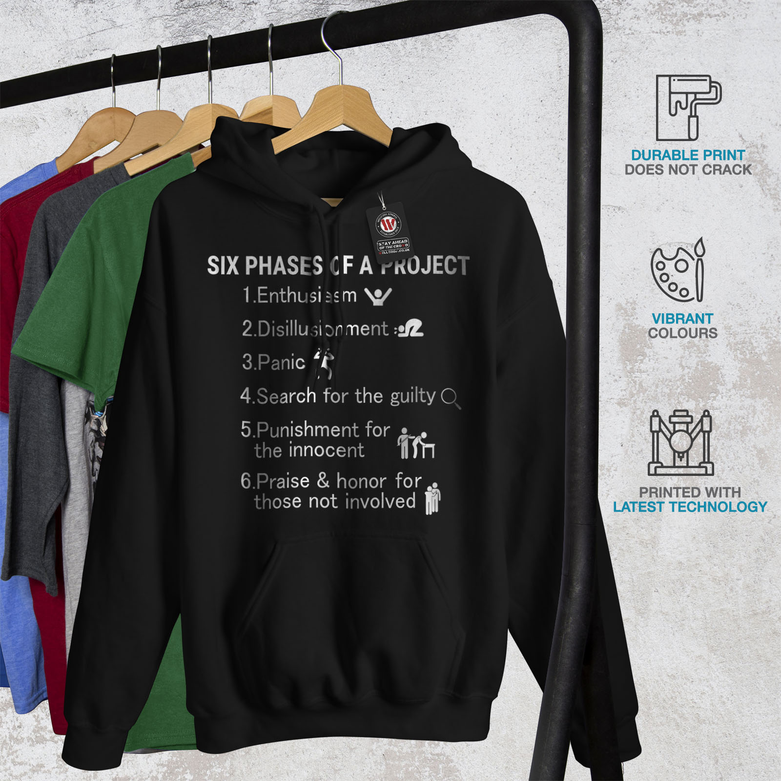 casual Felpa Six Felpa uomo Wellcoda nera da Fhases con divertente Project cappuccio xYqYFtz