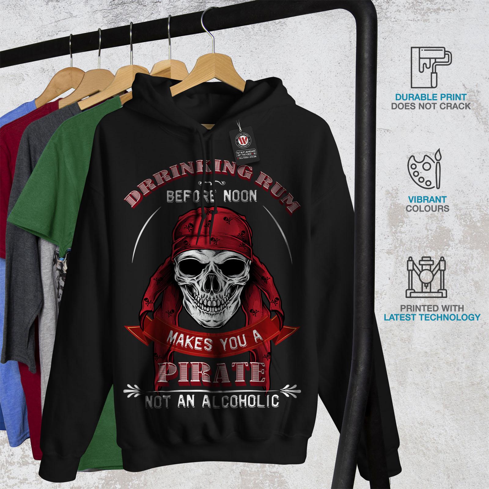 Pirate con nera da Felpa Rum Wellcoda cappuccio cappuccio felpa casual uomo con Skull gWOwH