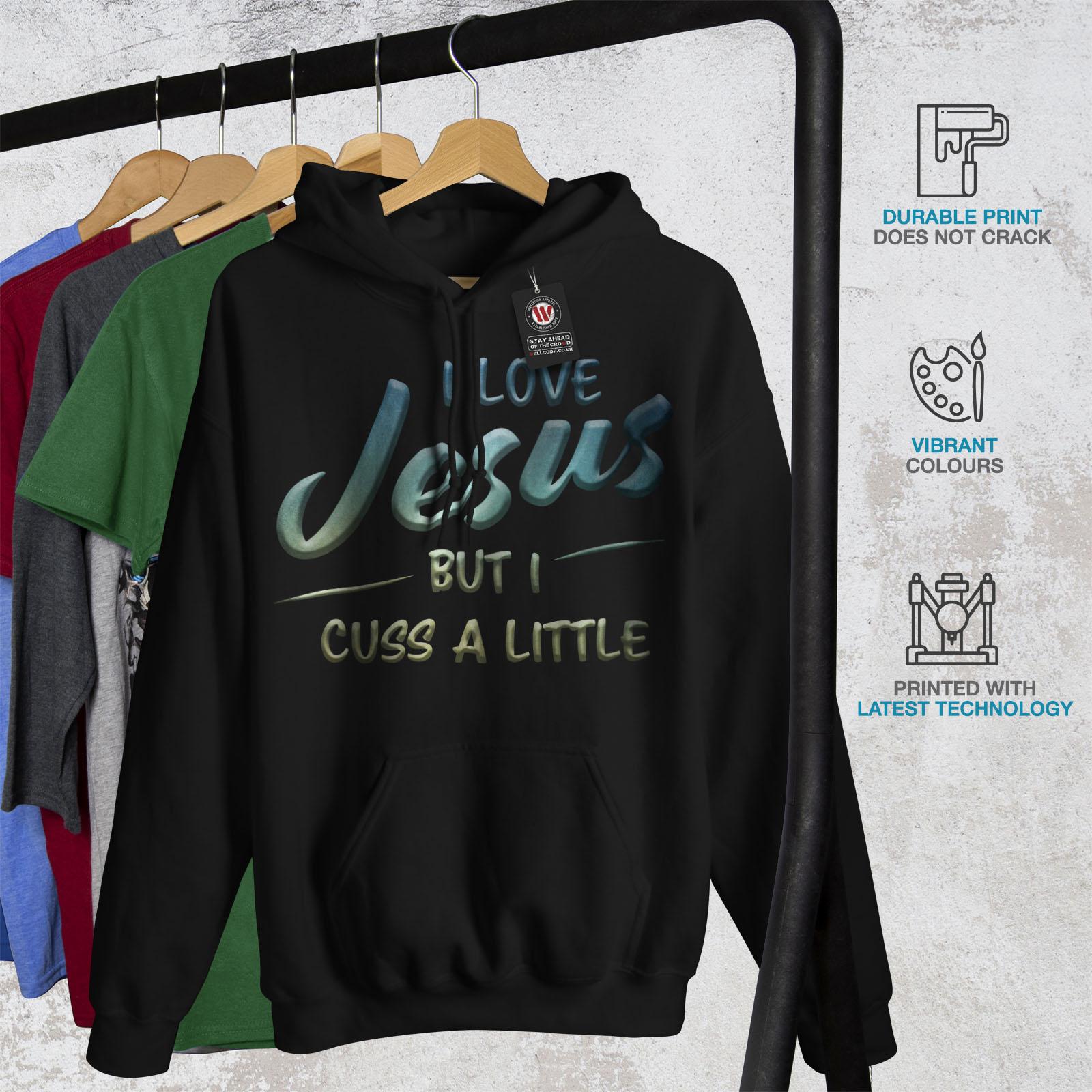 tessuto nero casual Love cappuccio con Jesus Mens Funny in felpa Felpa Wellcoda 1OS7WOR