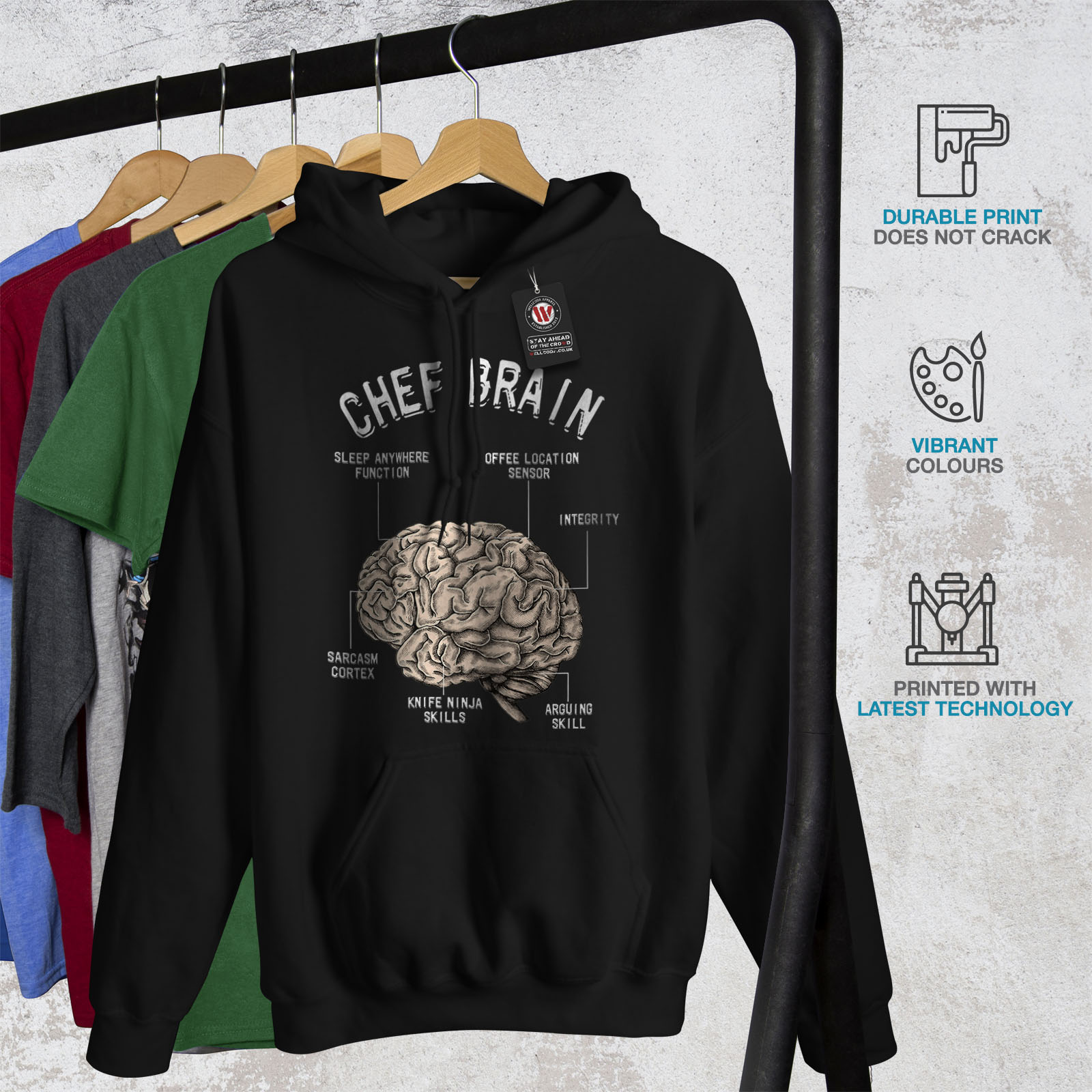 Casual Wellcoda Sweatshirt Hoodie Structure Mens Hooded Black Chef Brain Anatomy RrqwRY