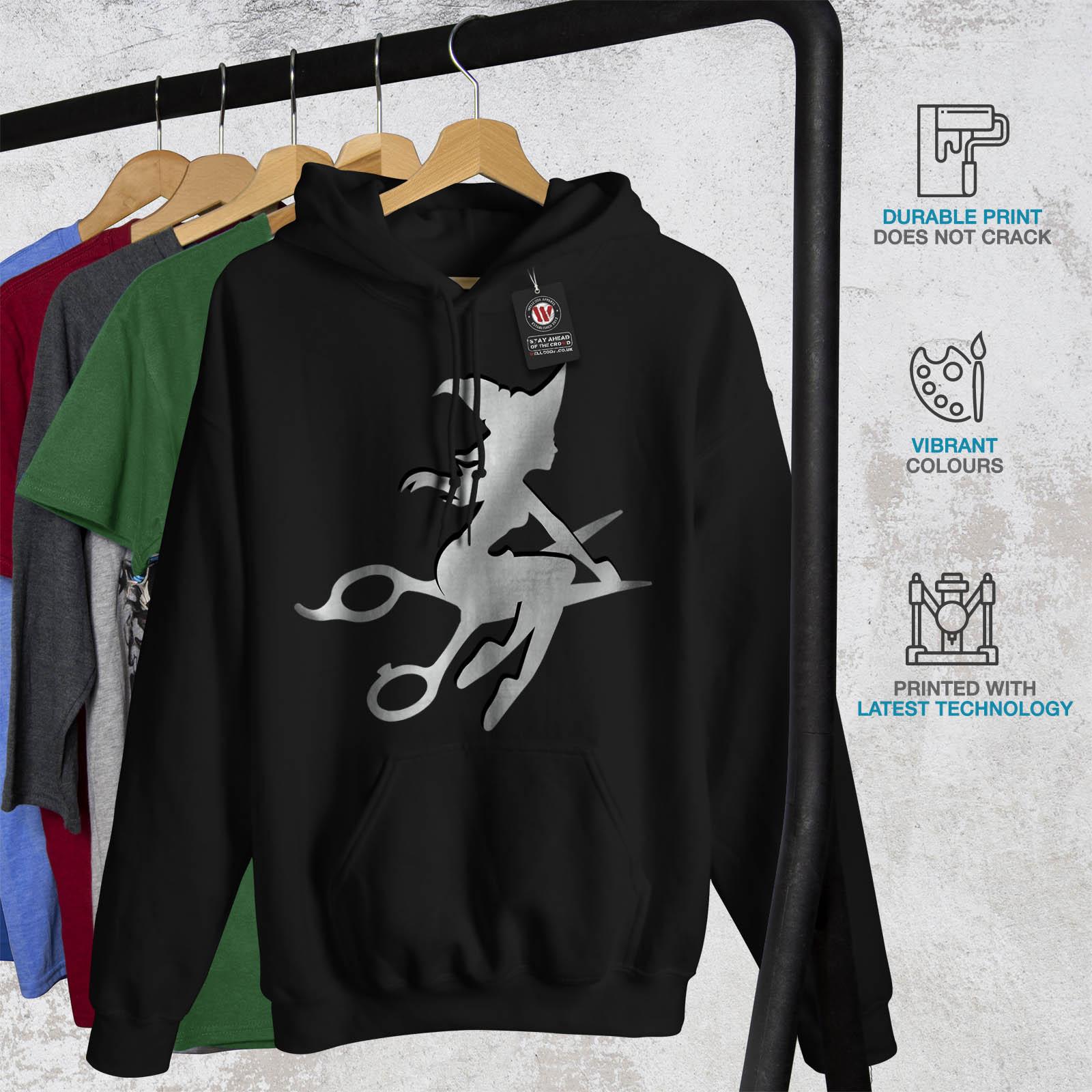 Black Sweatshirt Mens Wellcoda Hooded Casual Cute Scissors Hoodie Hairstylist S0xaw8q6