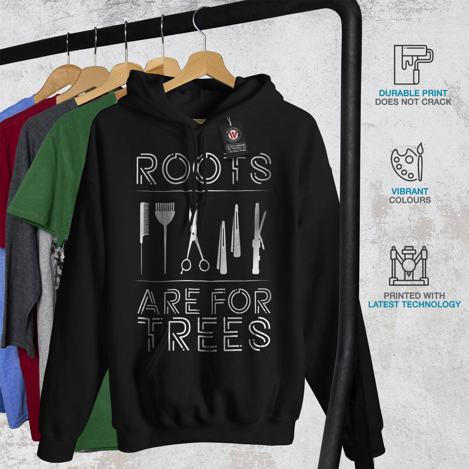Wellcoda cappuccio nera Roots Hairstylist Casual Joke cappuccio con Felpa con Felpa Mens rRrxwv