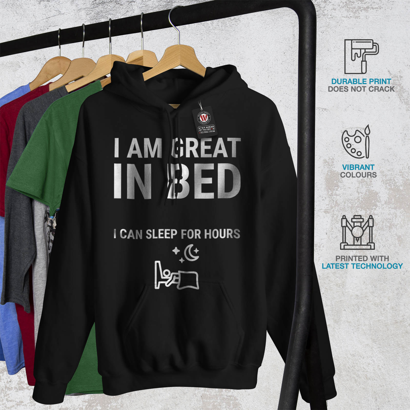 In nera Felpa cappuccio Bed da Felpa con uomo casual Wellcoda Procrastination Great wPxIPKq6f1