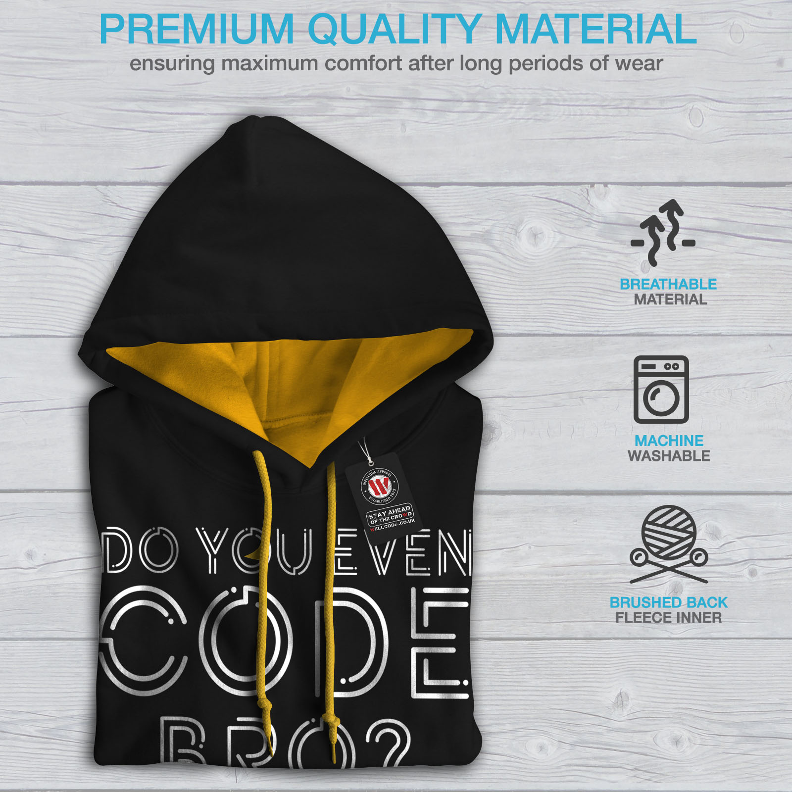 Jumper gold Hood Do Casual Hoodie Contrast You Programmer Mens Wellcoda Even Black App TRzPxwwq7