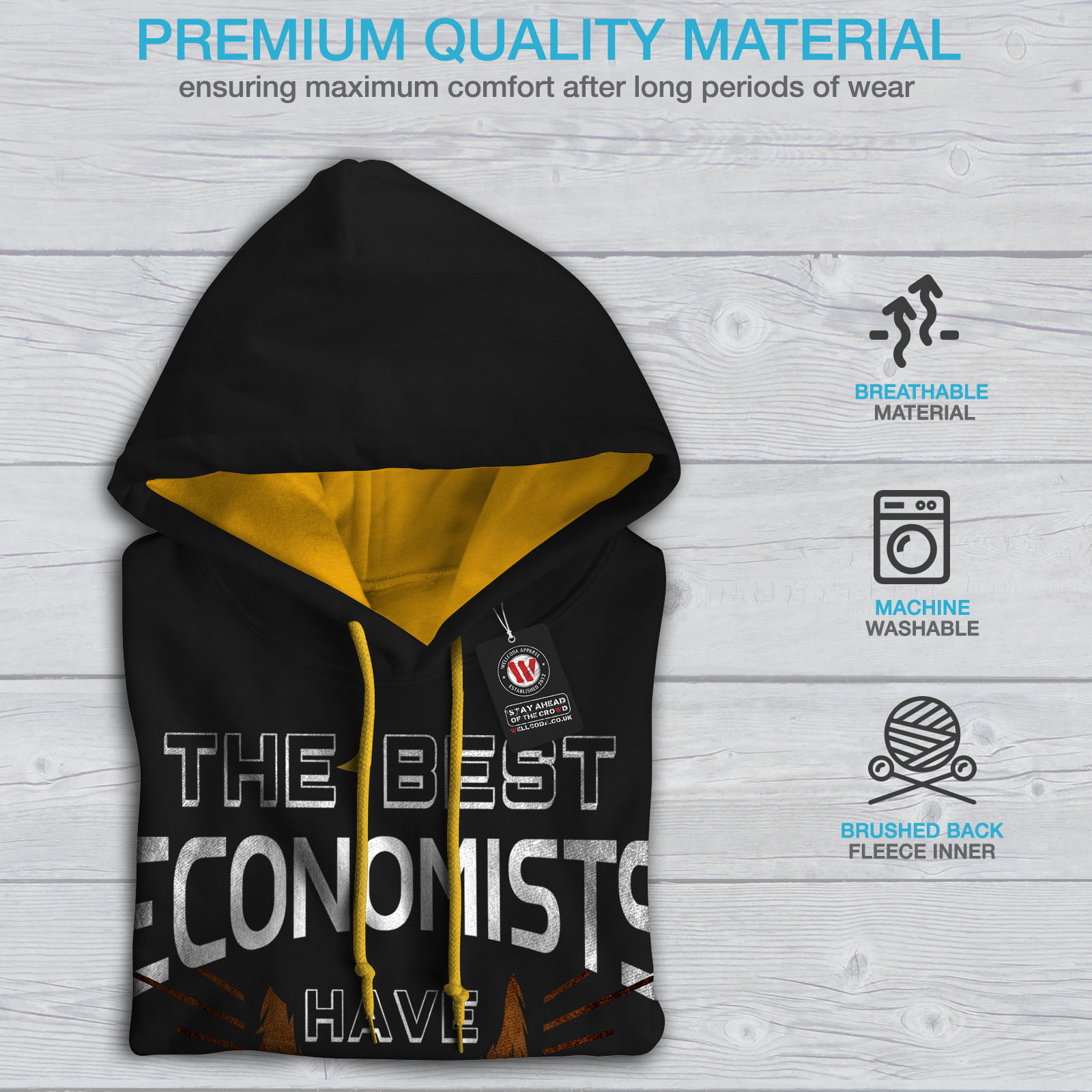 Casual The Beard Economist Hoodie Contrast Best Mens Wellcoda Jumper Hood gold Black x0nq7gTwqY