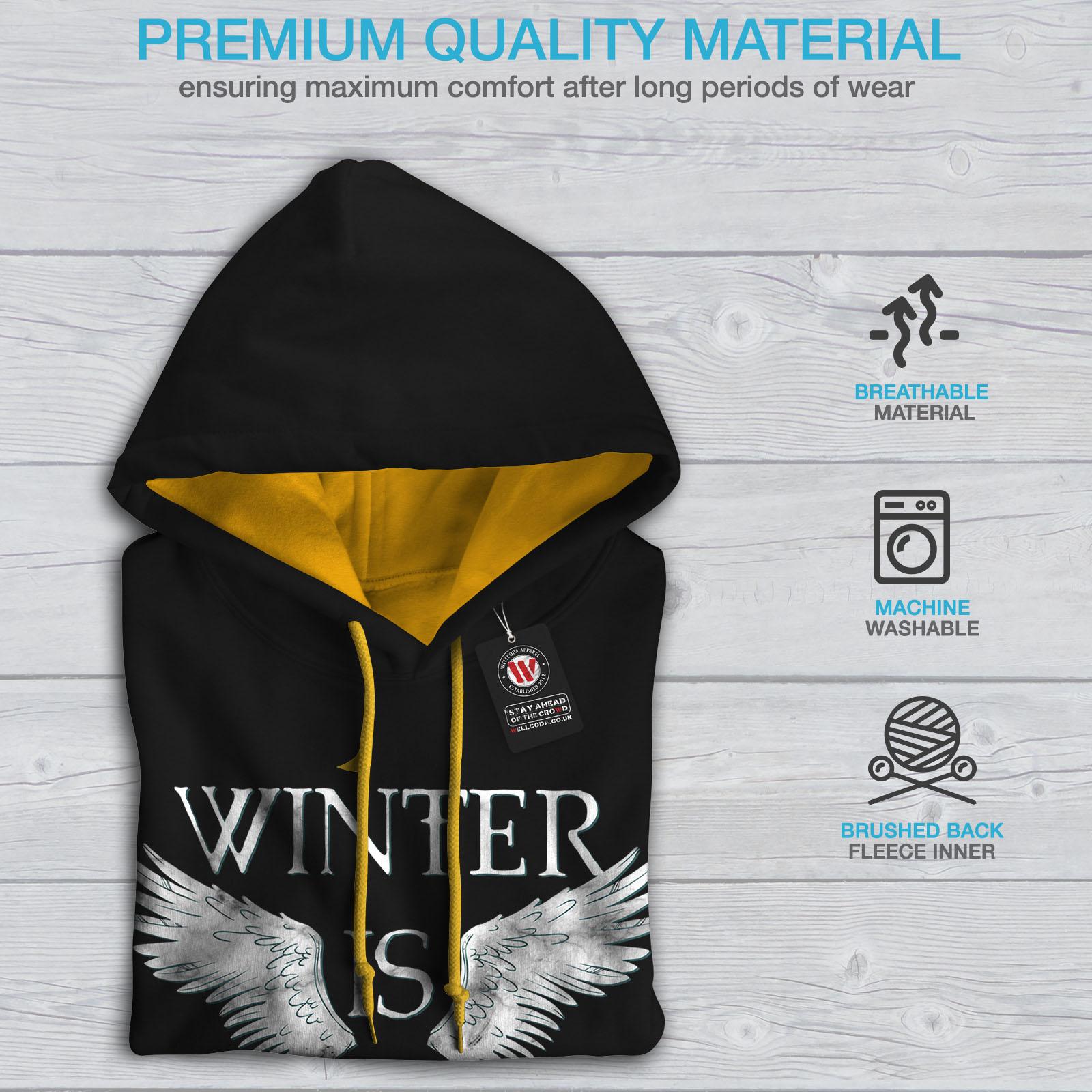 Hoodie Wellcoda Here Jumper Hood Winter Black Contrast gold Wings Mens Casual rII7BpWq6