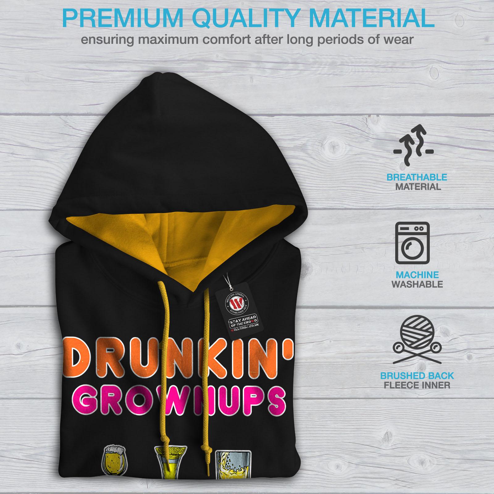 Wellcoda Mens Casual oro cappuccio Contrast Felpa Jumper Black con cappuccio Adult cresciuto Party Drunk q6RrqS