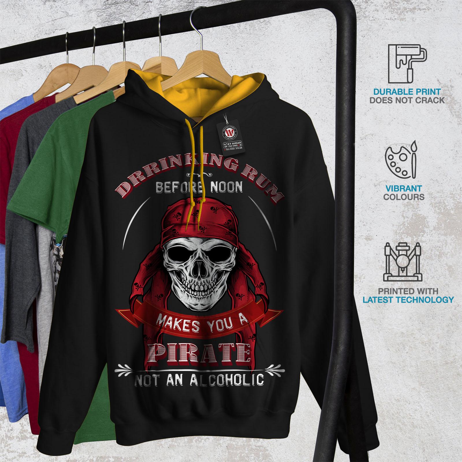 cappuccio Skull Uomo Wellcoda contrasto Rum Pirate cappuccio con Nero Jumper oro Casual Bere a 7wqxRq54t