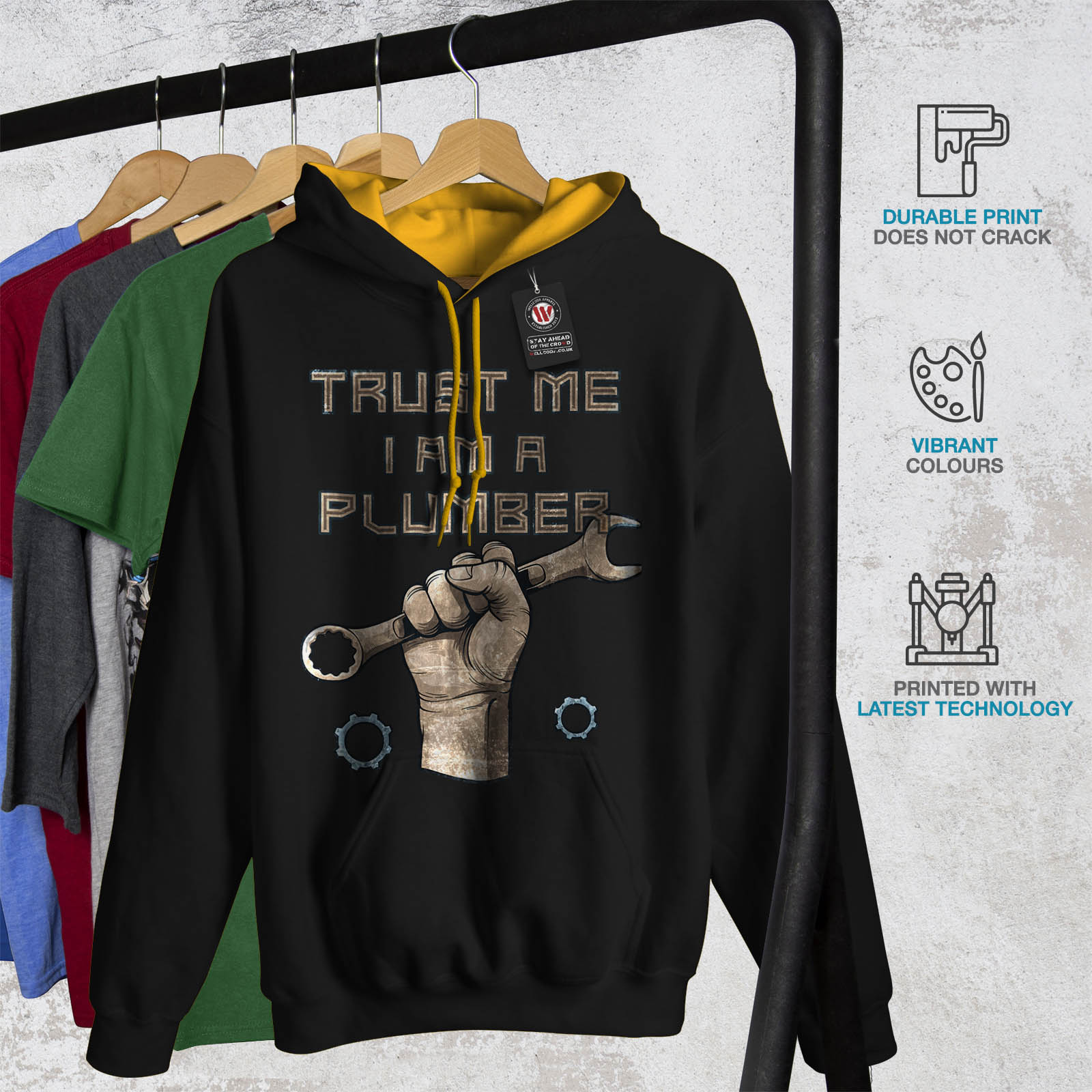 Black Power Felpa oro Trust Contrast Mens Jumper cappuccio cappuccio Me Wellcoda con Plumber Casual 6PwCUxq