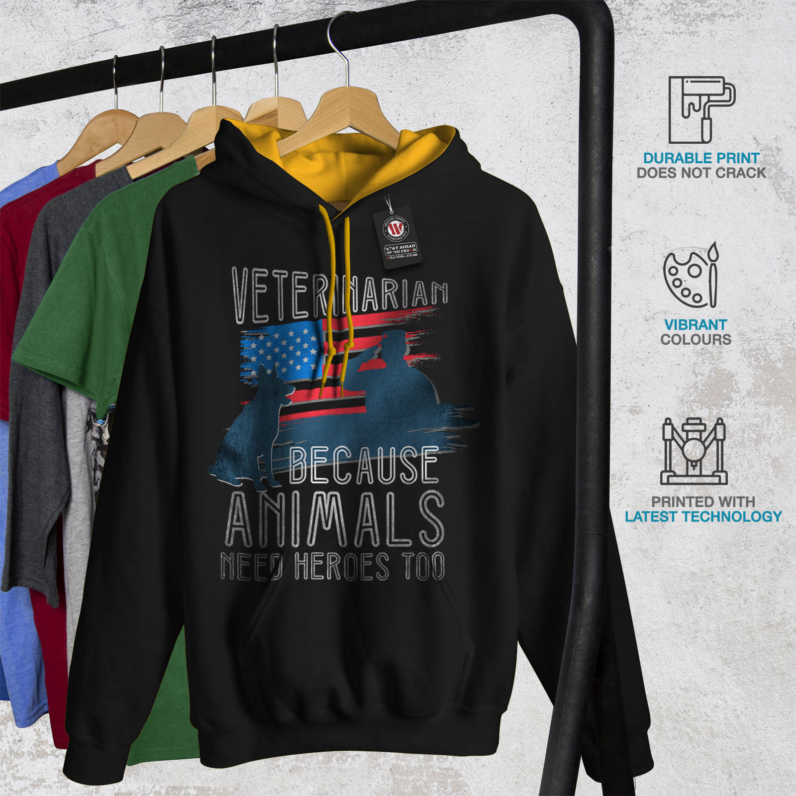 Mens Hero Wellcoda oro Contrast Animali cappuccio con cappuccio Black Casual Veterinarian Jumper Felpa wSwAr5Eq