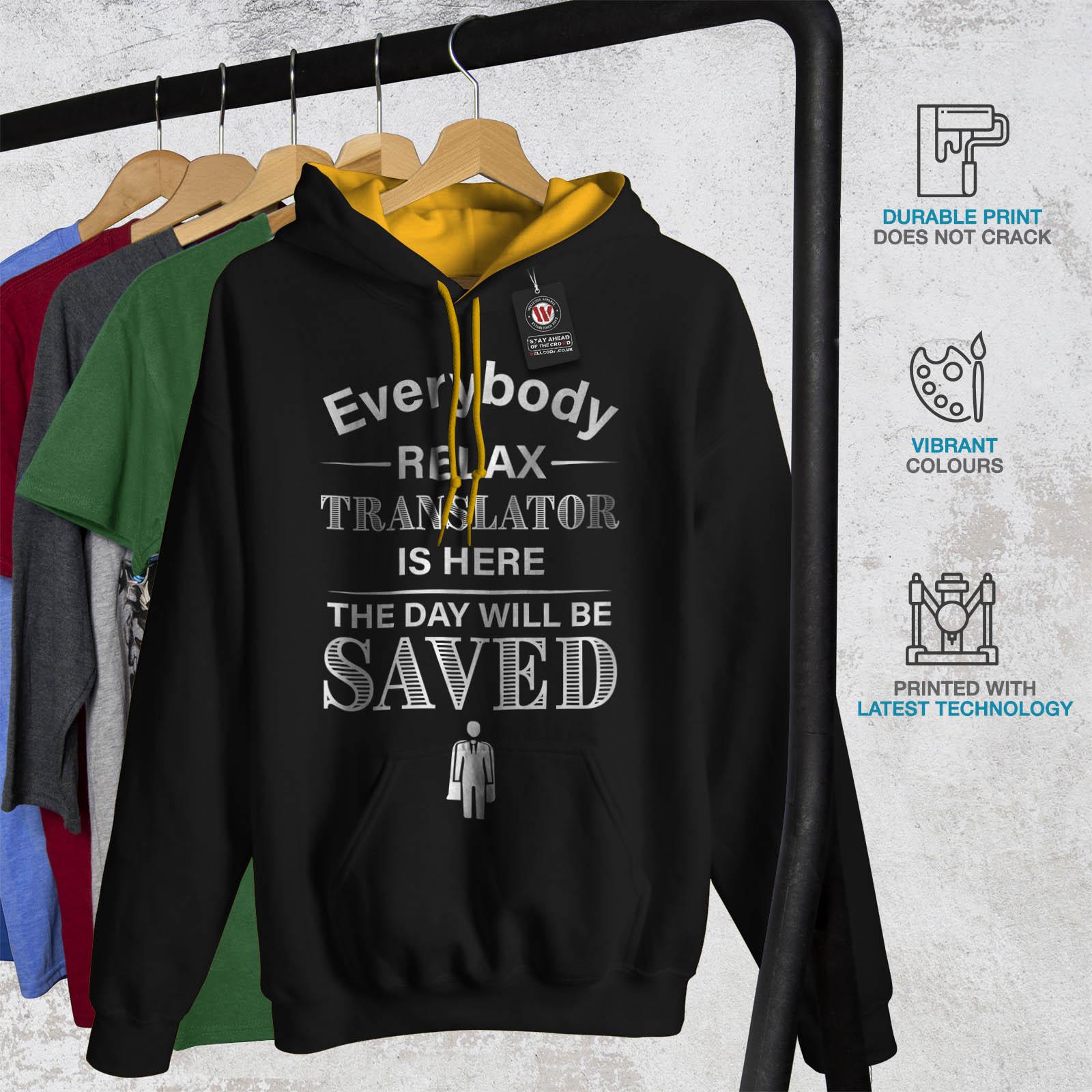 Saved Black Mens Job Translator Hood gold Hoodie Wellcoda Contrast Casual Jumper q4pX8wwn5