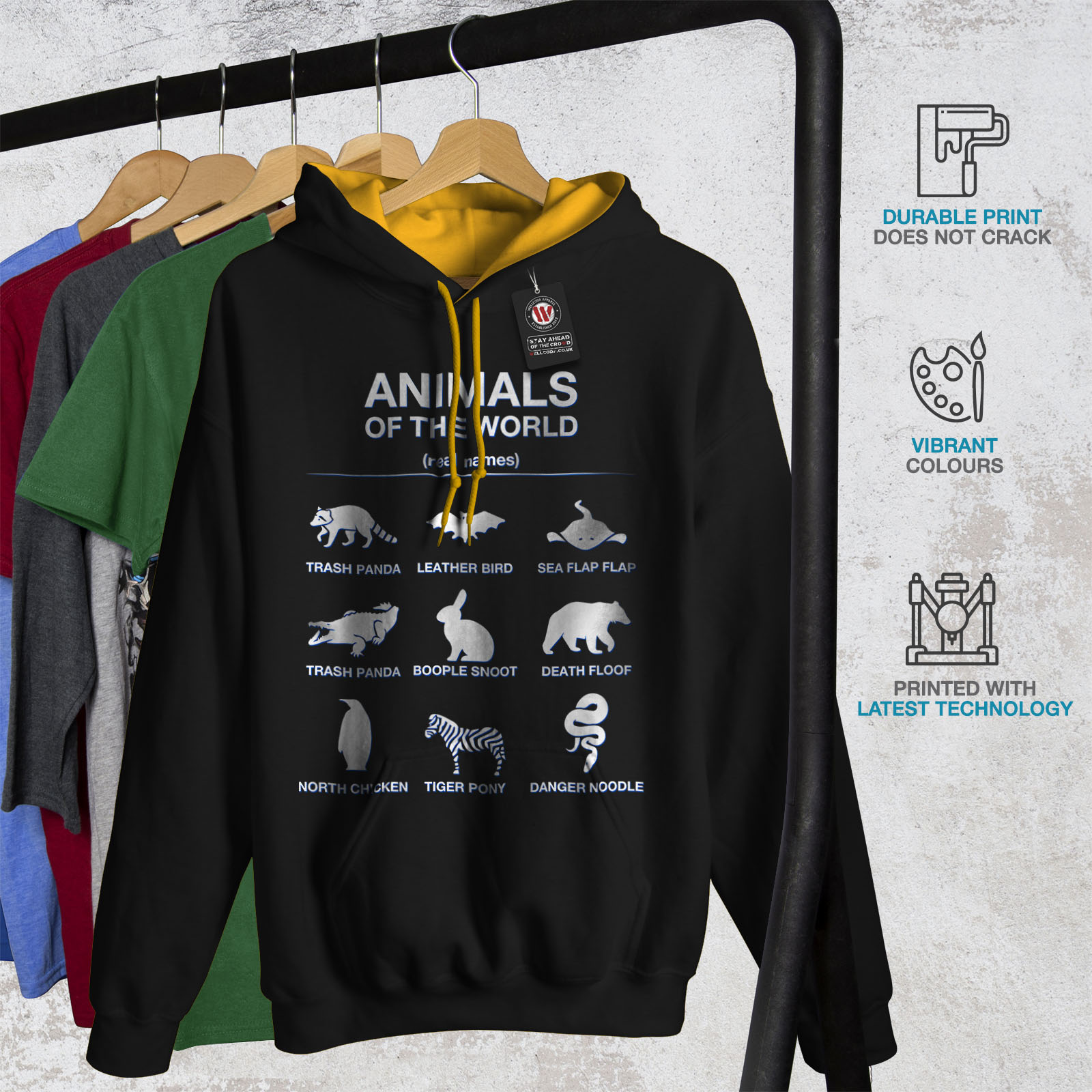 Jumper Cute Wellcoda cappuccio gold con Funny Casual Contrast Black Biology Felpa Animals Hood Mens FnSngqCa1w