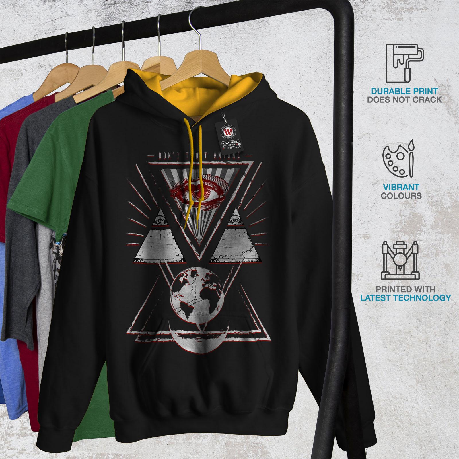 World Wellcoda cappuccio cappuccio Black Felpa Casual con Contrast Mens Jumper Triangle Pyramid Eye oro FwgqRZf