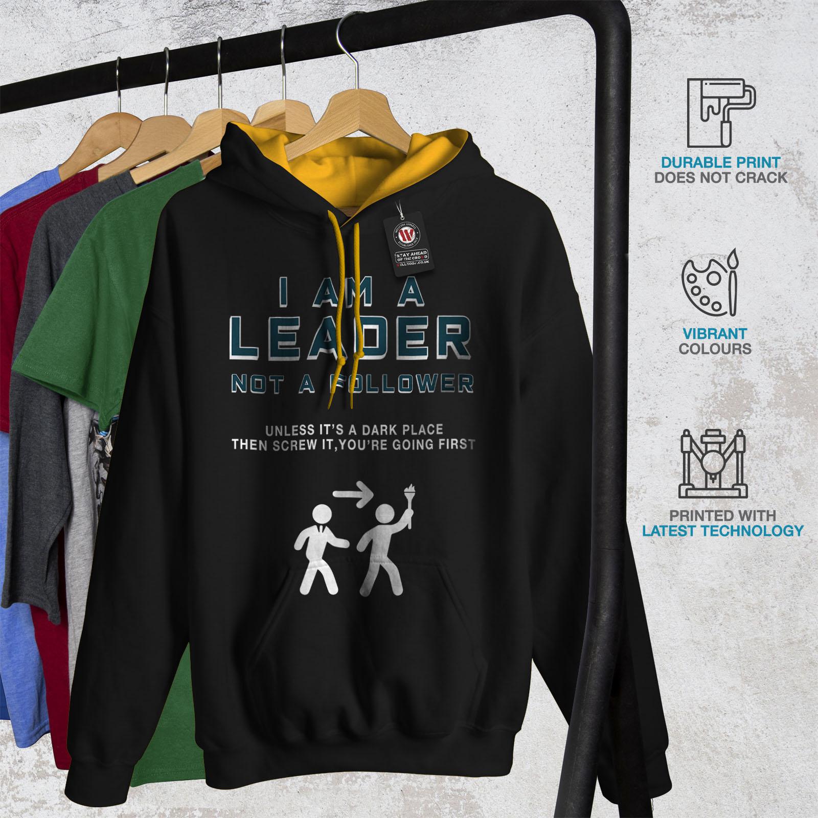 Felpa cappuccio Jumper con Black Scared Dark oro Mens cappuccio Casual Wellcoda Funny Contrast Leader nYq7vCxX
