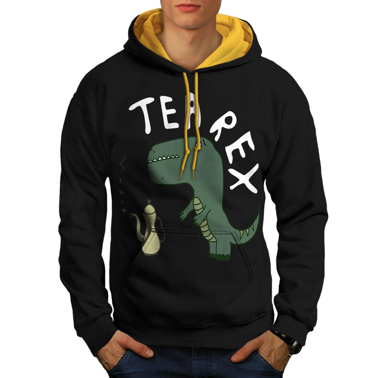 New Rex Black cappuccio rex con cappuccio Men oro Felpa T Contrast Tea AEwS8