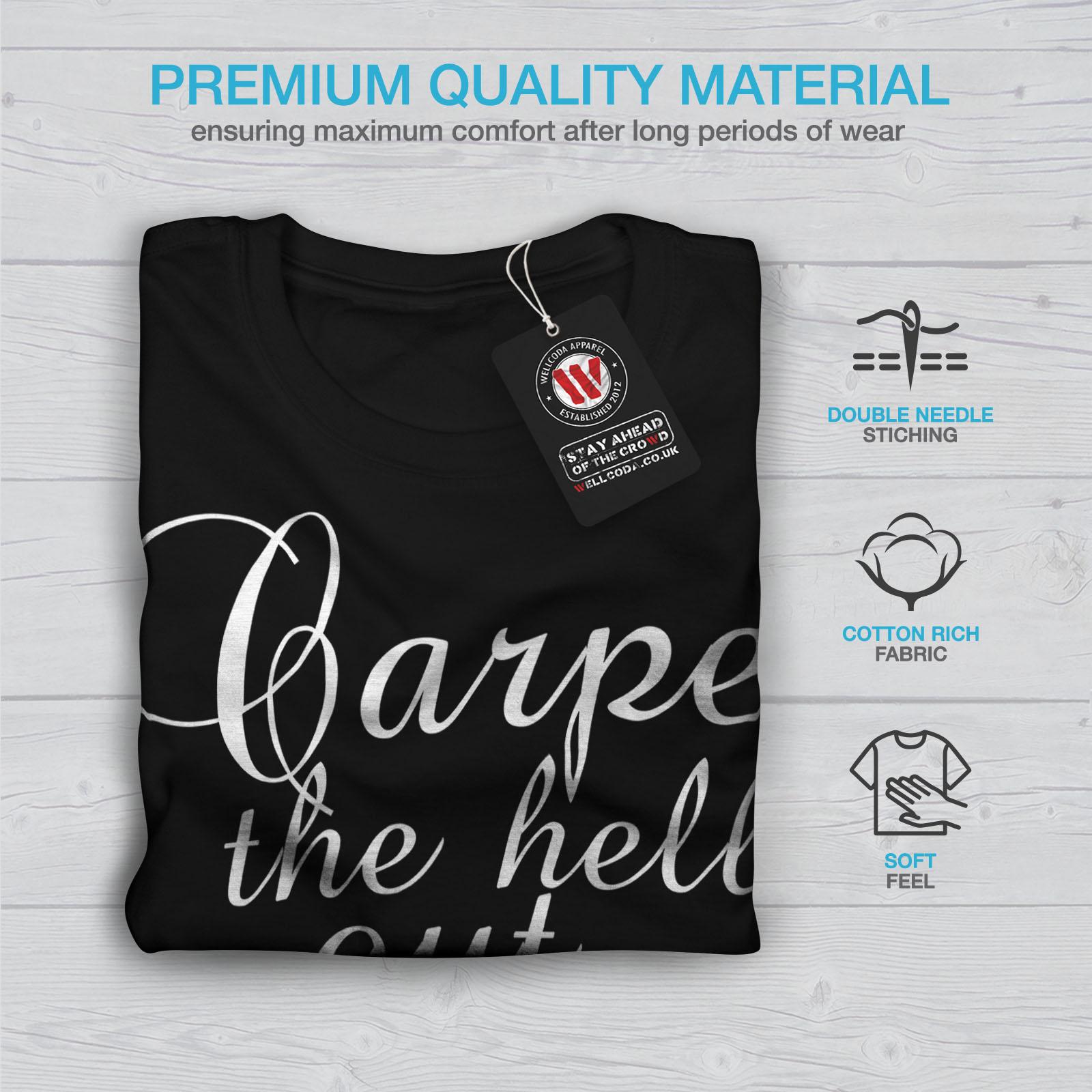 Wellcoda-Carpe-Diem-Herren-T-Shirt-hasse-Zitat-Grafikdesign-Printed-Tee Indexbild 7