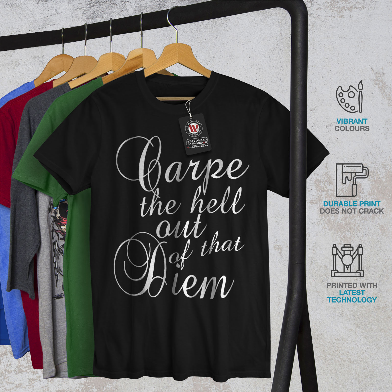 Wellcoda-Carpe-Diem-Herren-T-Shirt-hasse-Zitat-Grafikdesign-Printed-Tee Indexbild 6