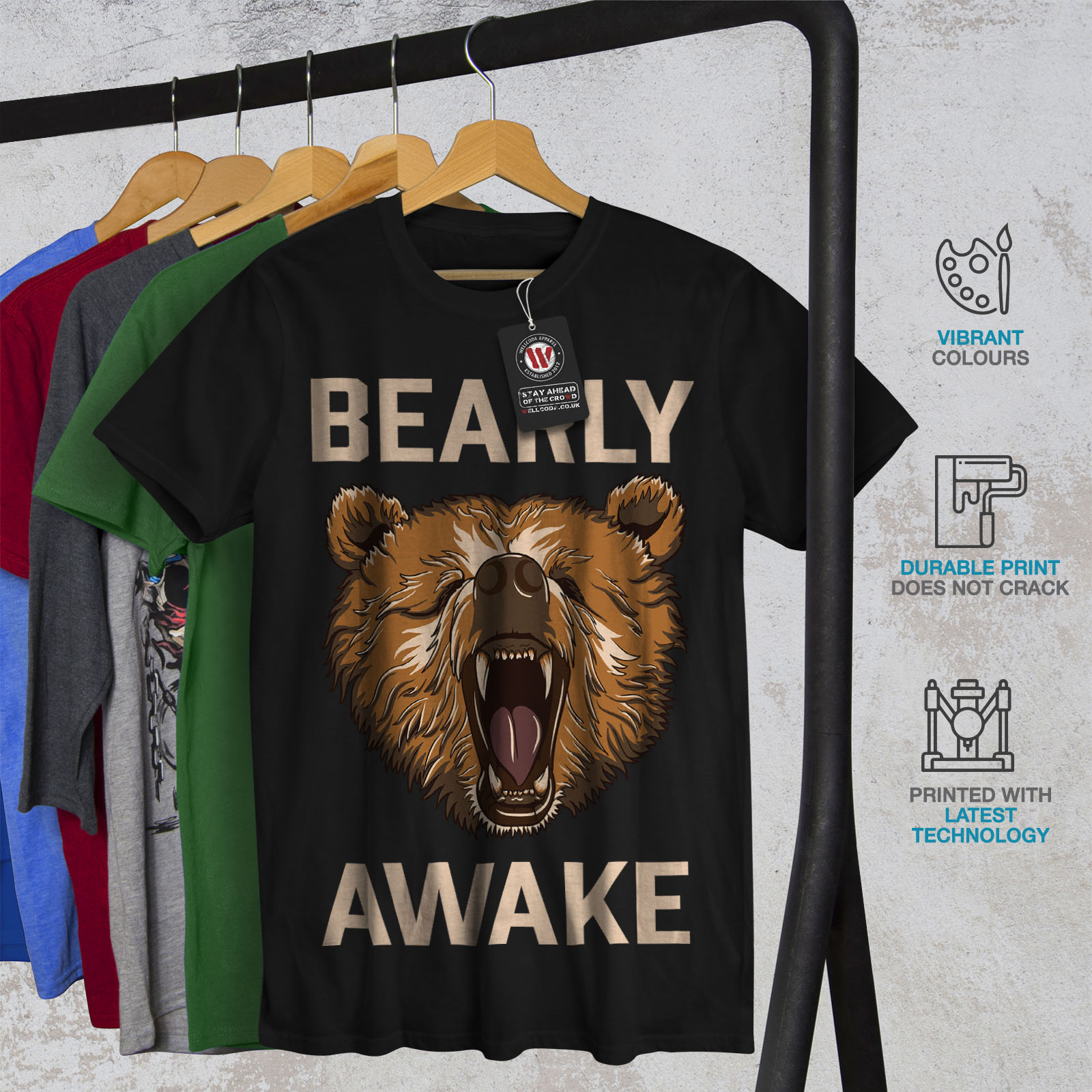 Wellcoda-Bearly-Grizzly-Awake-Mens-T-shirt-Coffee-Graphic-Design-Printed-Tee thumbnail 6