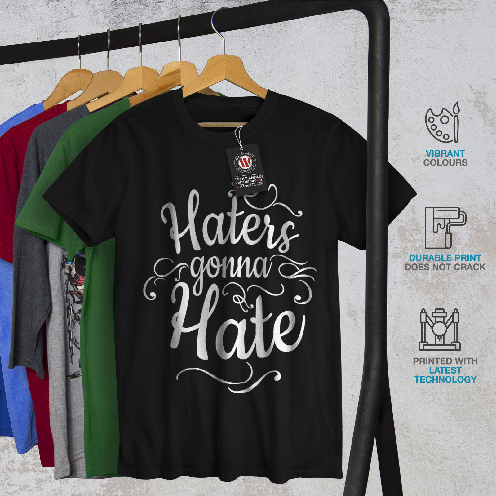 Funny Graphic Design Printed Tee Wellcoda Hate Everyone Today Mens T-shirt
