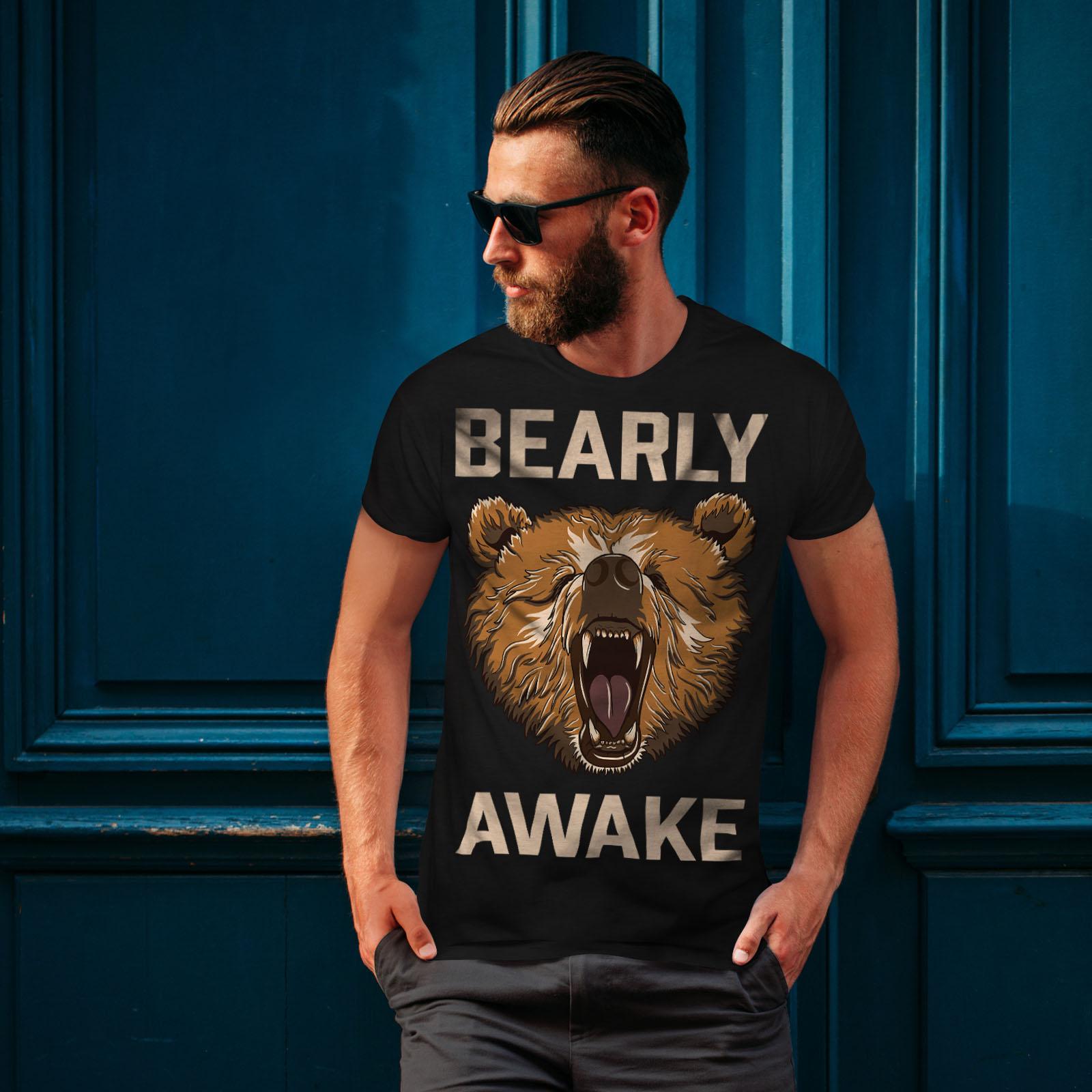 Wellcoda Bearly Grizzly Awake Mens T-shirt Coffee Graphic Design Printed Tee