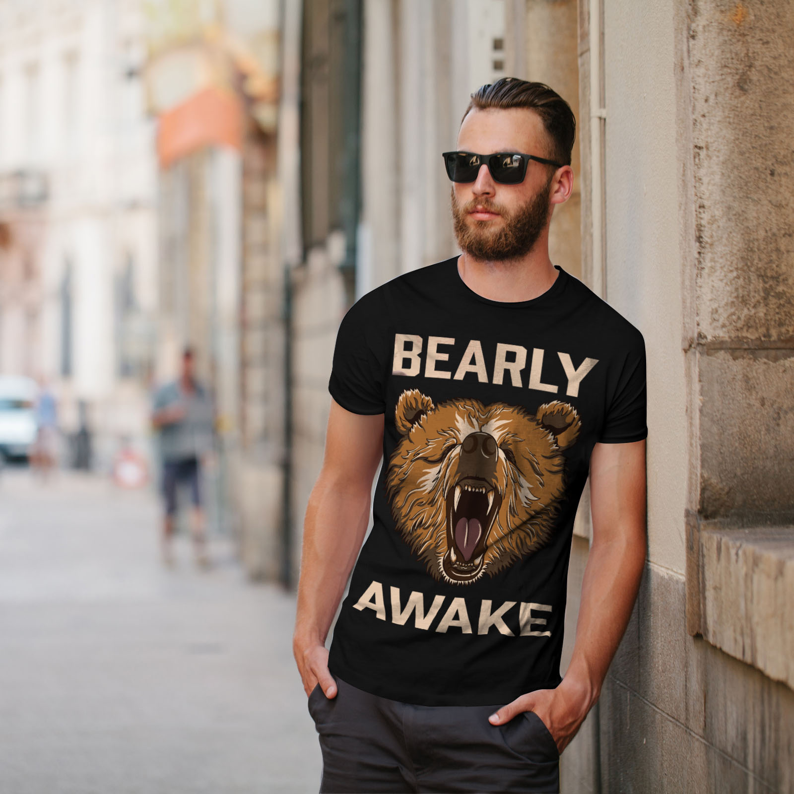Wellcoda-Bearly-Grizzly-Awake-Mens-T-shirt-Coffee-Graphic-Design-Printed-Tee thumbnail 5