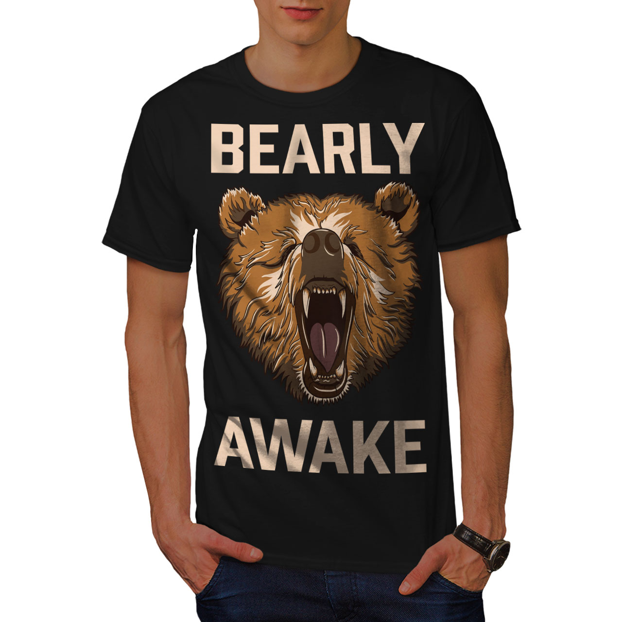 Wellcoda-Bearly-Grizzly-Awake-Mens-T-shirt-Coffee-Graphic-Design-Printed-Tee thumbnail 3