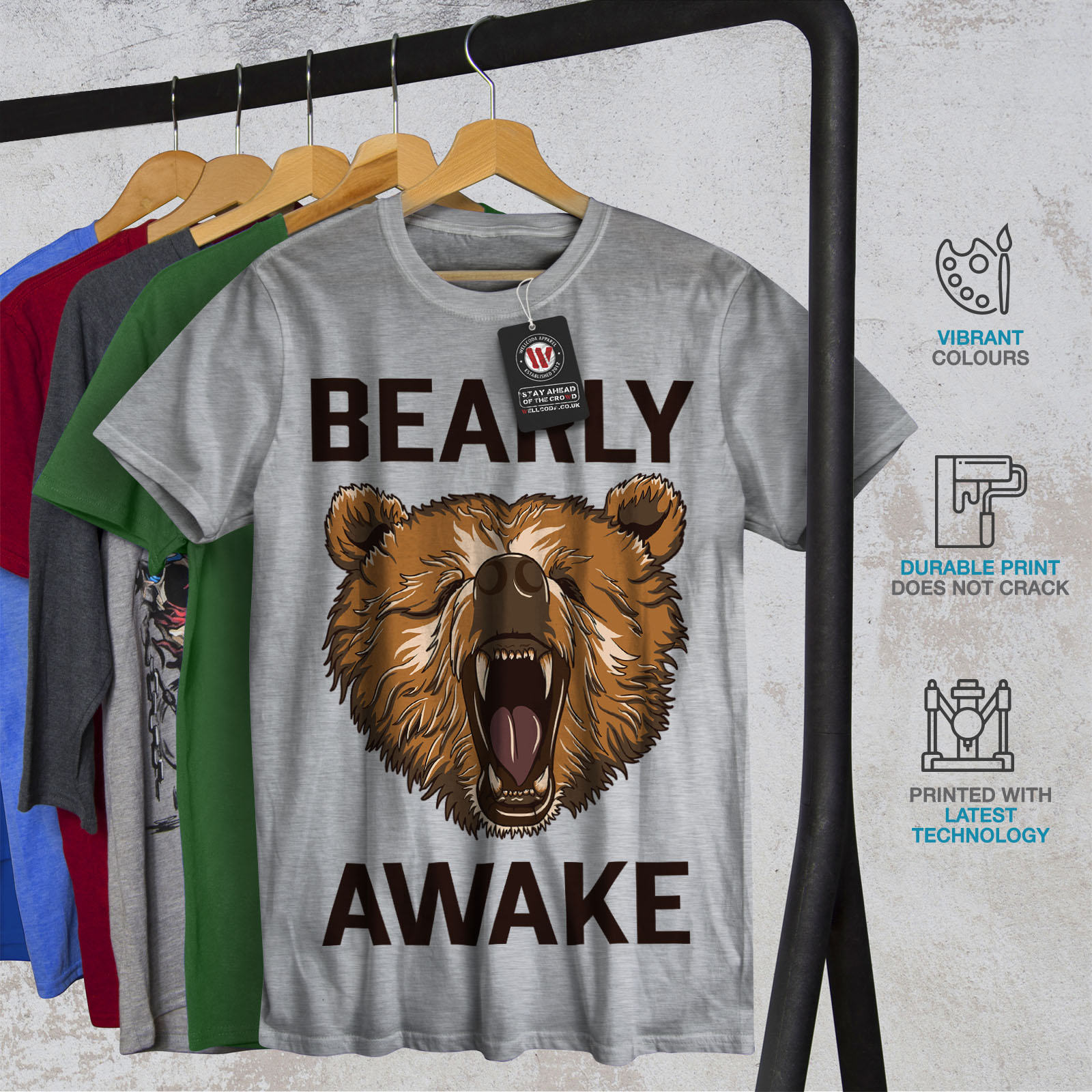 Wellcoda-Bearly-Grizzly-Awake-Mens-T-shirt-Coffee-Graphic-Design-Printed-Tee thumbnail 18