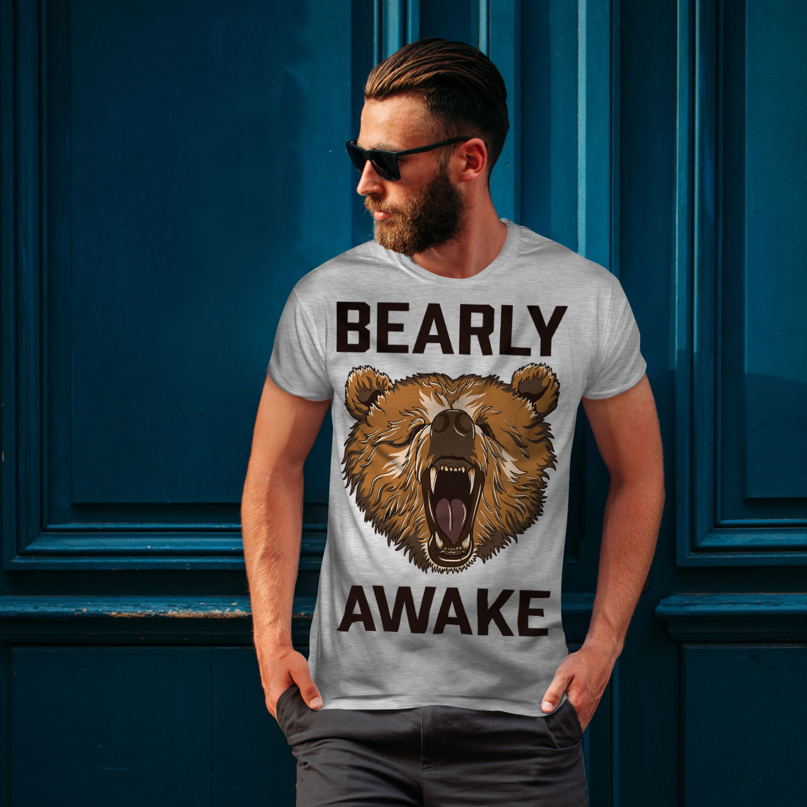 Wellcoda-Bearly-Grizzly-Awake-Mens-T-shirt-Coffee-Graphic-Design-Printed-Tee thumbnail 16