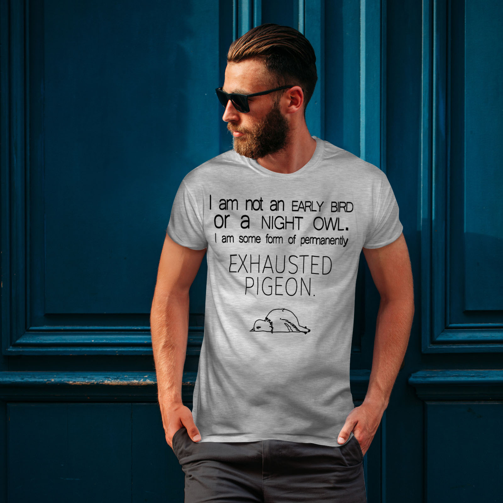 Buffa design grafico stampato T-shirt Wellcoda ESAURITO Piccione Da Uomo T-shirt