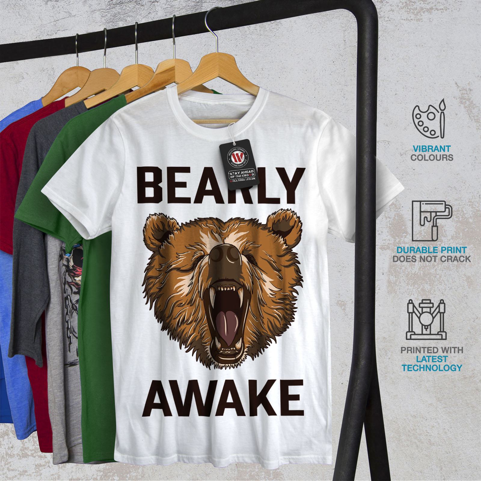 Wellcoda-Bearly-Grizzly-Awake-Mens-T-shirt-Coffee-Graphic-Design-Printed-Tee thumbnail 12