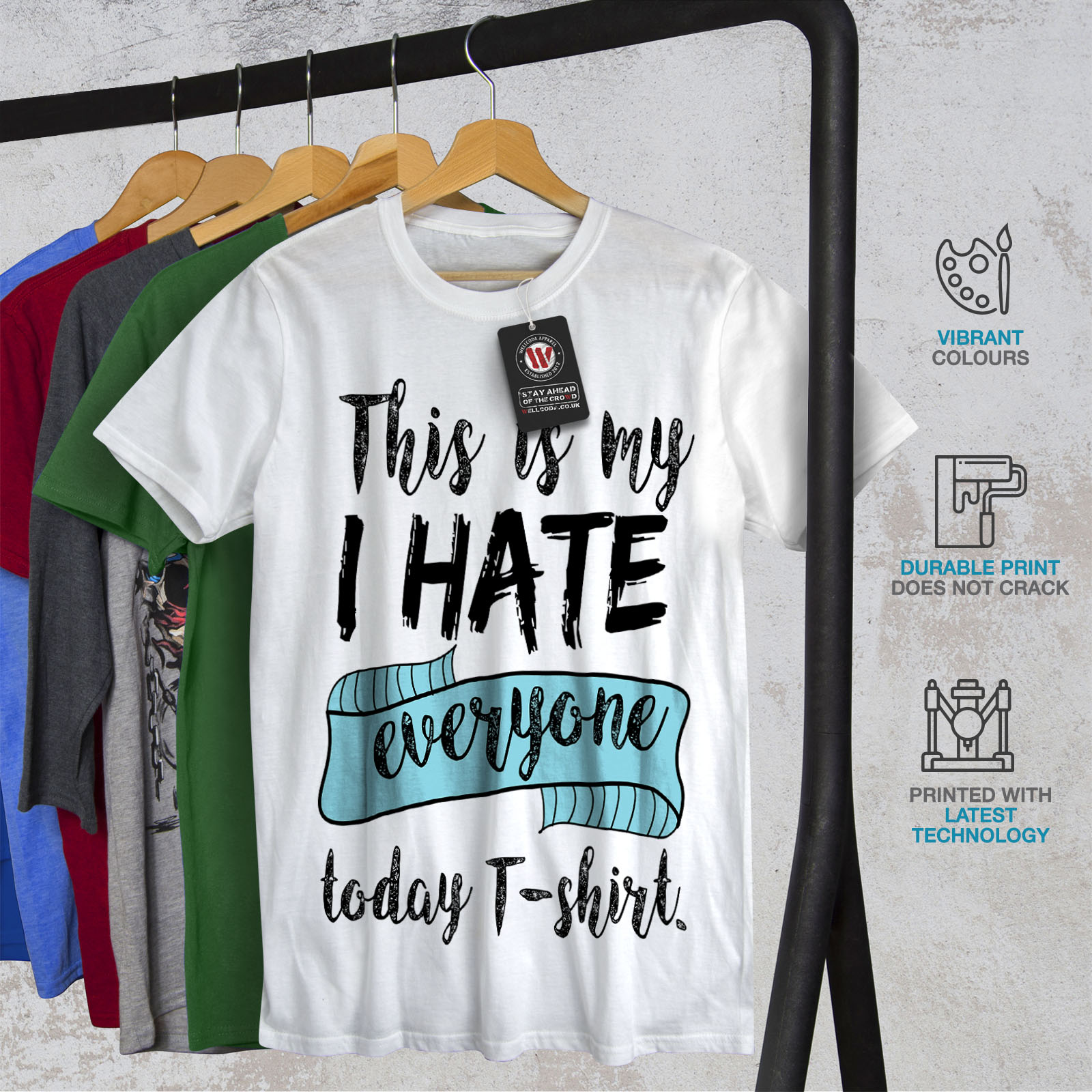 Wellcoda-hasse-alle-heute-Herren-T-Shirt-lustige-Grafikdesign-Printed-Tee Indexbild 12