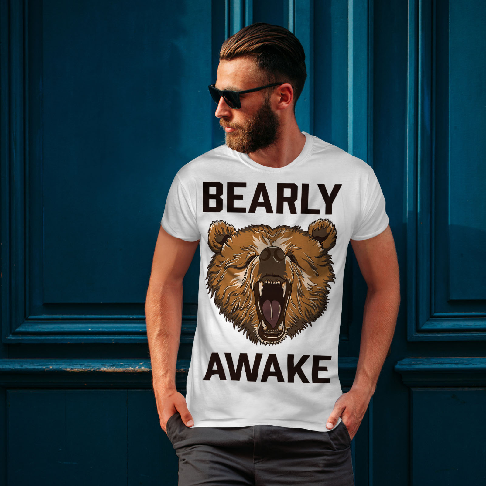 Wellcoda-Bearly-Grizzly-Awake-Mens-T-shirt-Coffee-Graphic-Design-Printed-Tee thumbnail 10