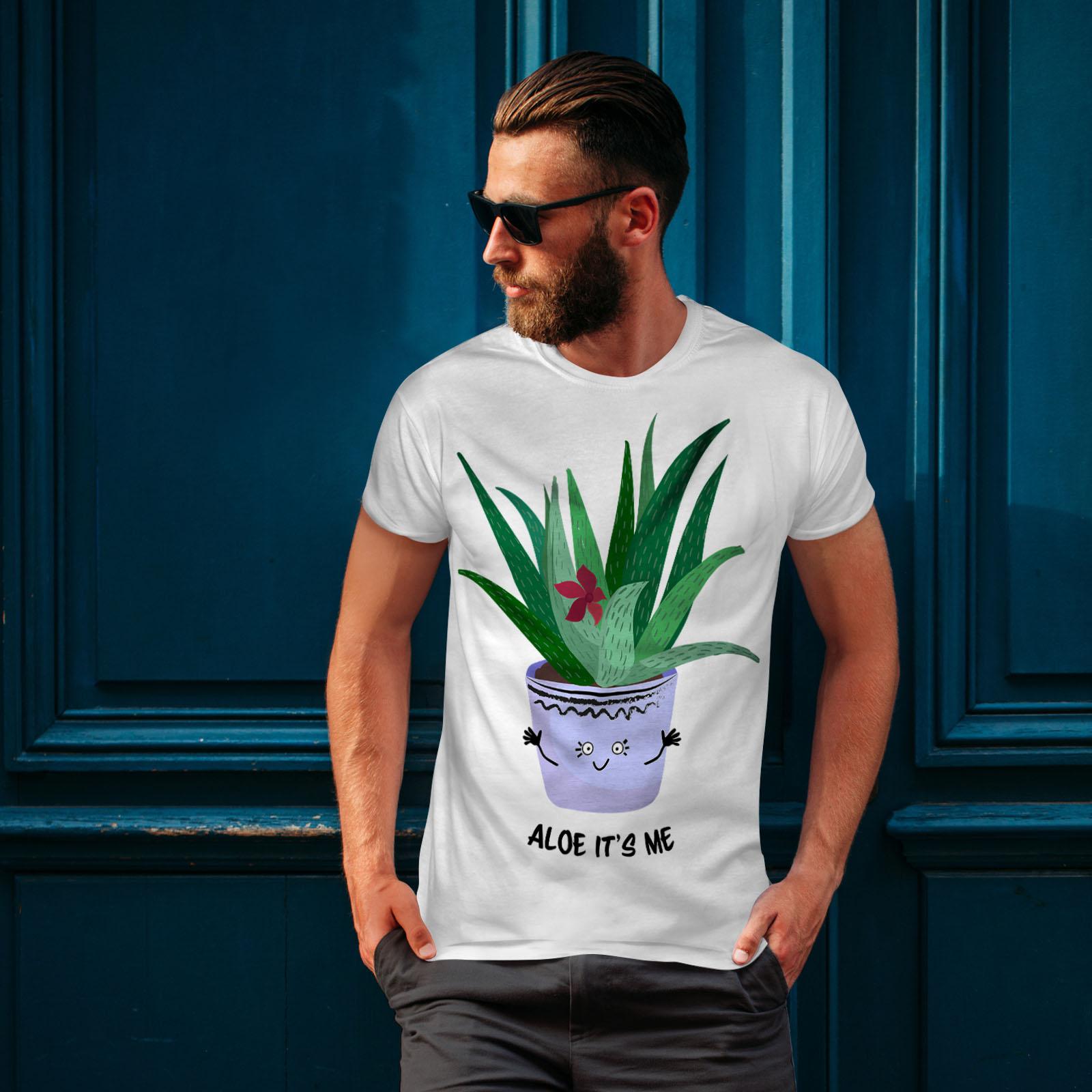Cute Graphic Design Printed Tee Wellcoda Aloe Hello Me Mens T-shirt