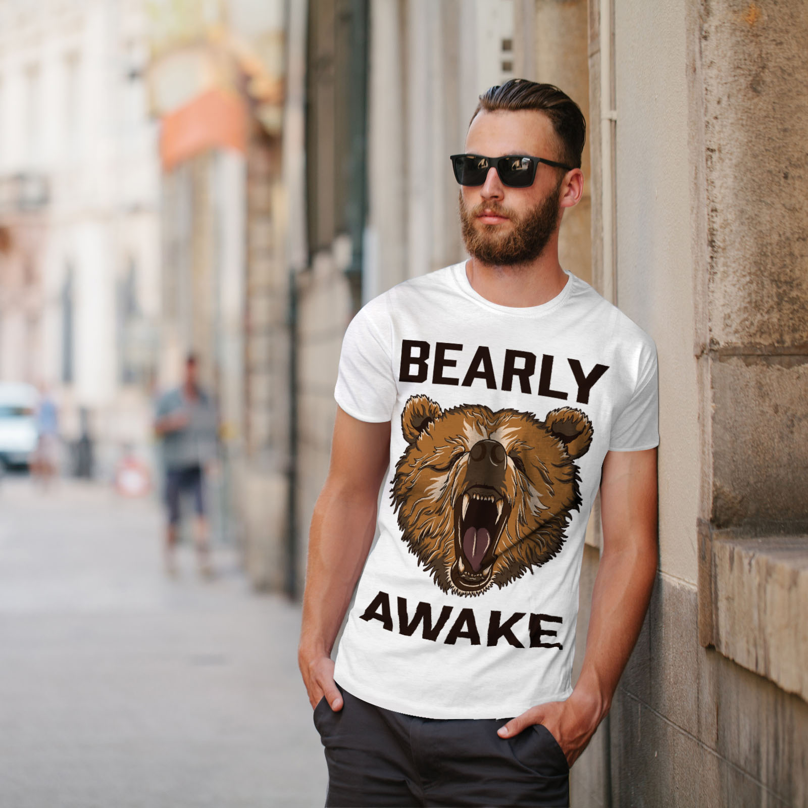 Wellcoda-Bearly-Grizzly-Awake-Mens-T-shirt-Coffee-Graphic-Design-Printed-Tee thumbnail 11
