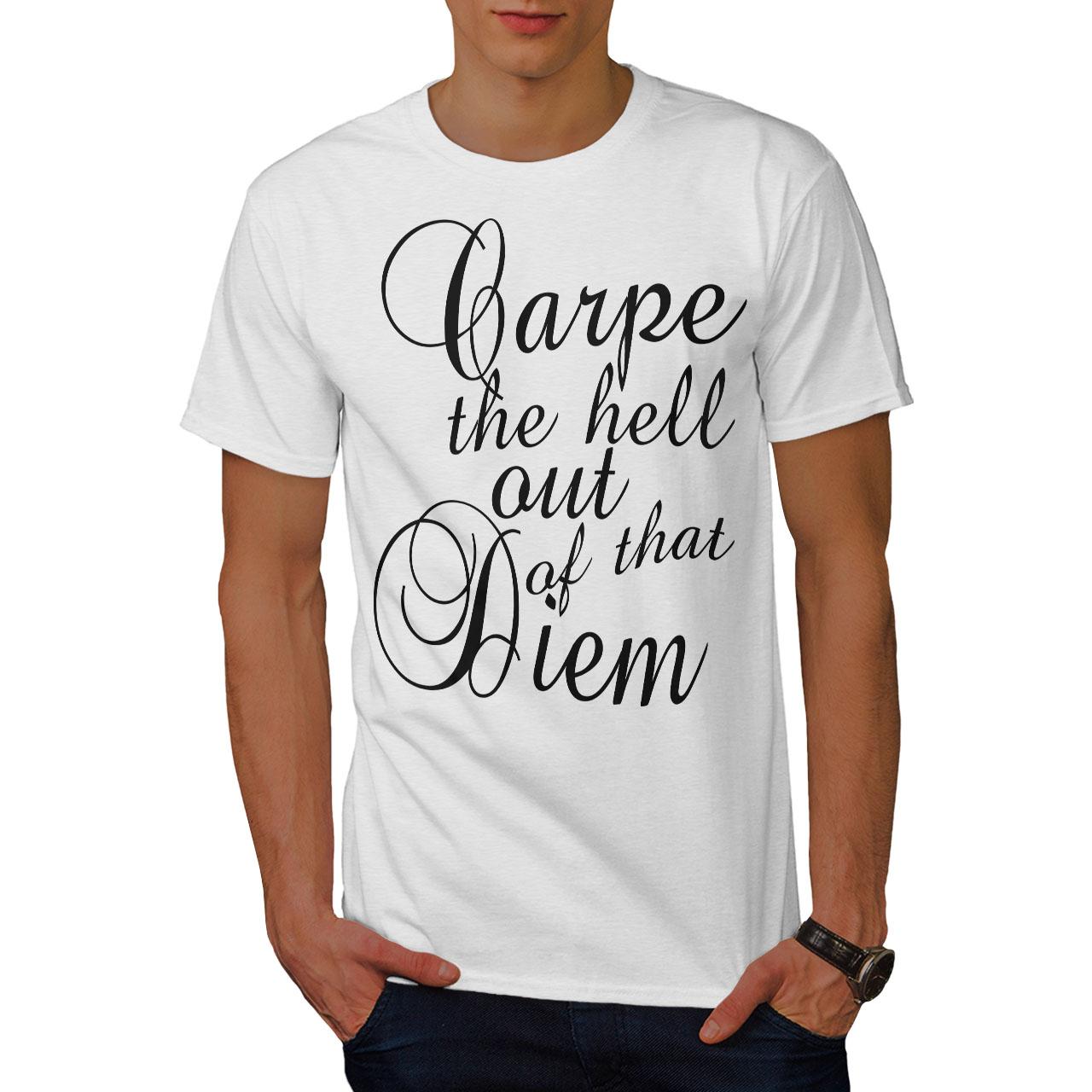 Wellcoda-Carpe-Diem-Herren-T-Shirt-hasse-Zitat-Grafikdesign-Printed-Tee