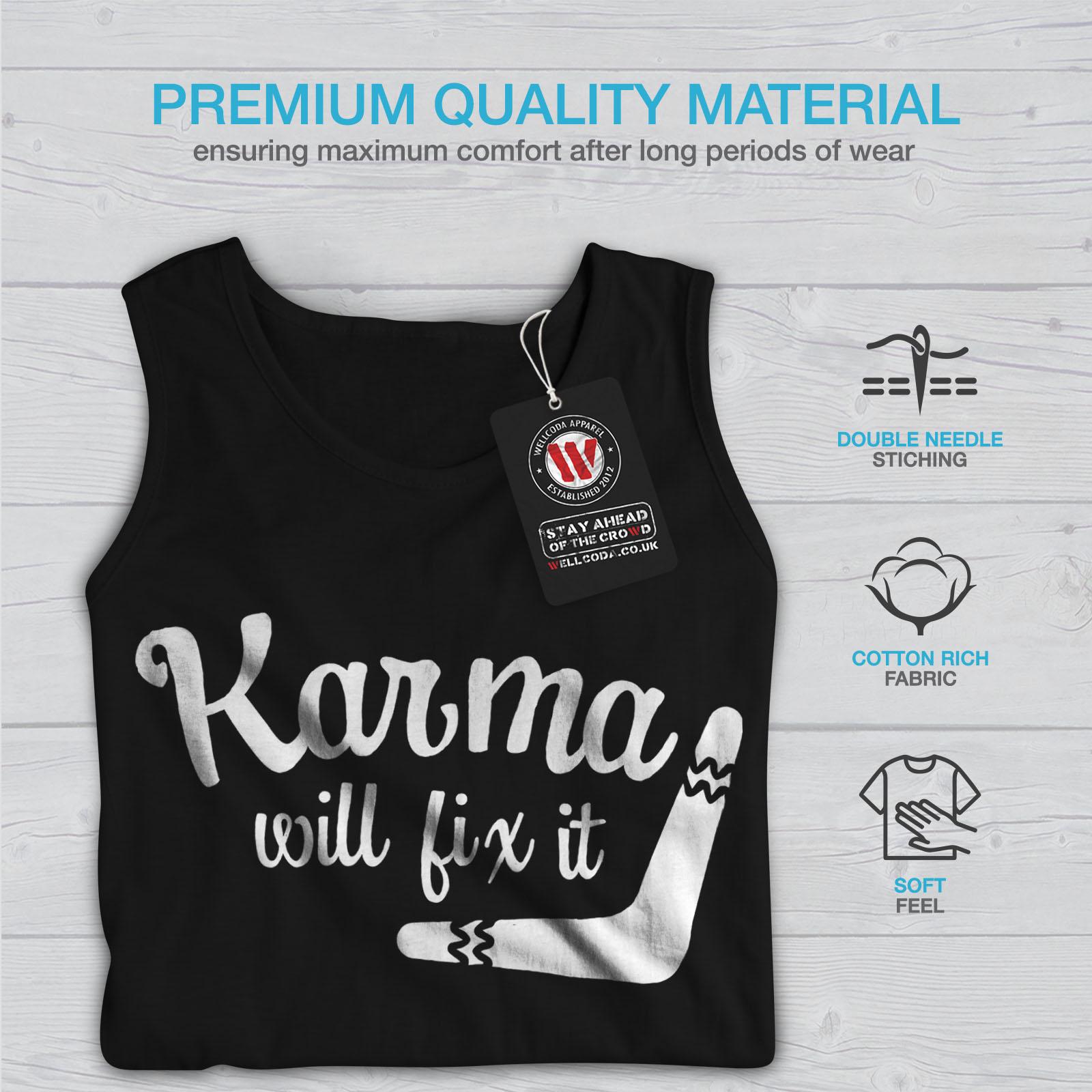 Funny Active Sports Shirt Wellcoda Karma Will Fix It Mens Tank Top