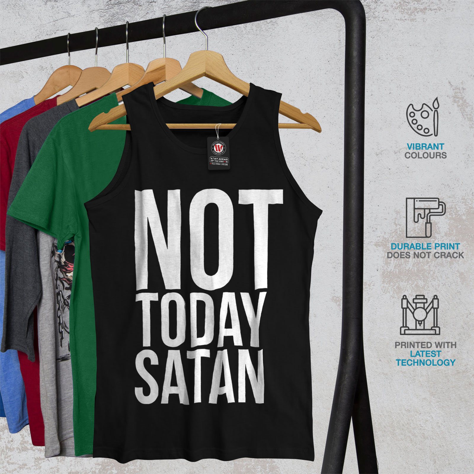 f73c38e5f Wellcoda Not Today Satan Mens Tank Top, Occult Active Sports Shirt ...