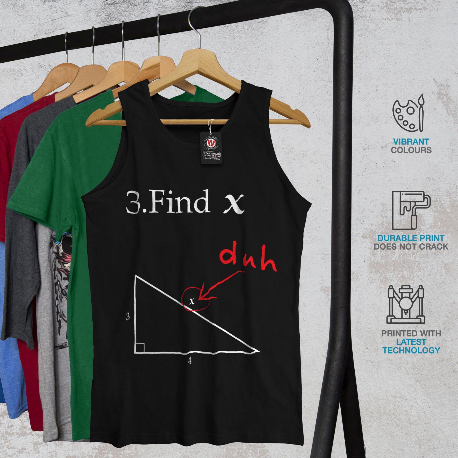 Wellcoda-trouver-X-Homme-Tank-Top-Drole-Math-Active-Sports-Shirt miniature 4