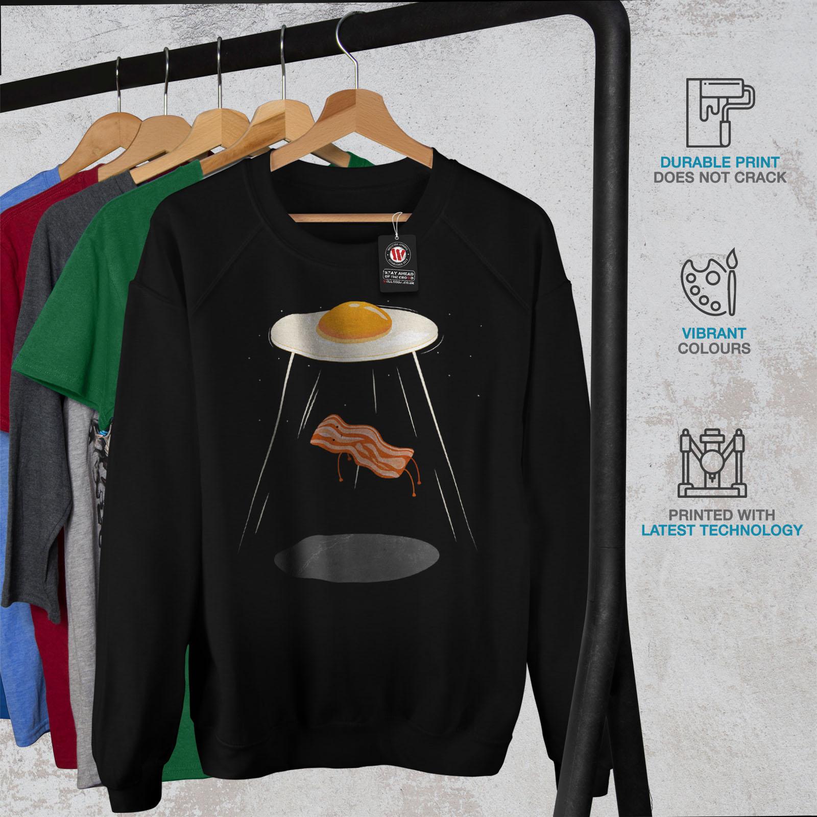 sudadera Casual Pullover ilustración Jumper Egg mujer Bacon Wellcoda Black Alien para EAq7PqwU