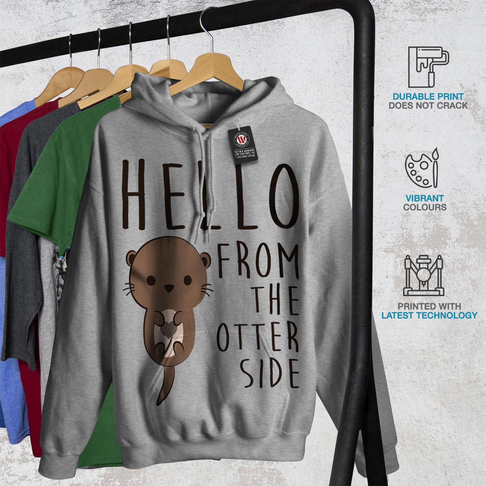 Pun Casual Hooded Sweatshirt Wellcoda Hello Other Side Otter Womens Hoodie