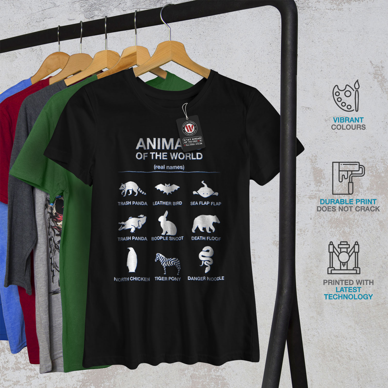 Details about Wellcoda Animals Funny Cute Womens T-shirt, Biology Casual  Design Printed Tee