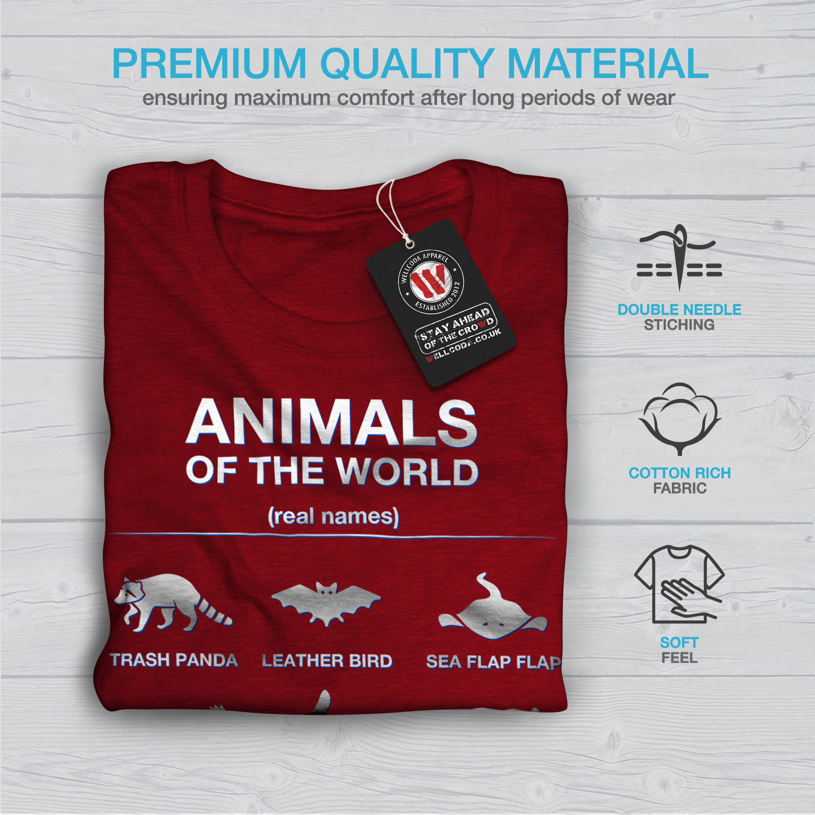 ea5f3e31 Wellcoda Animals Funny Cute Womens T-shirt, Biology Casual Design ...