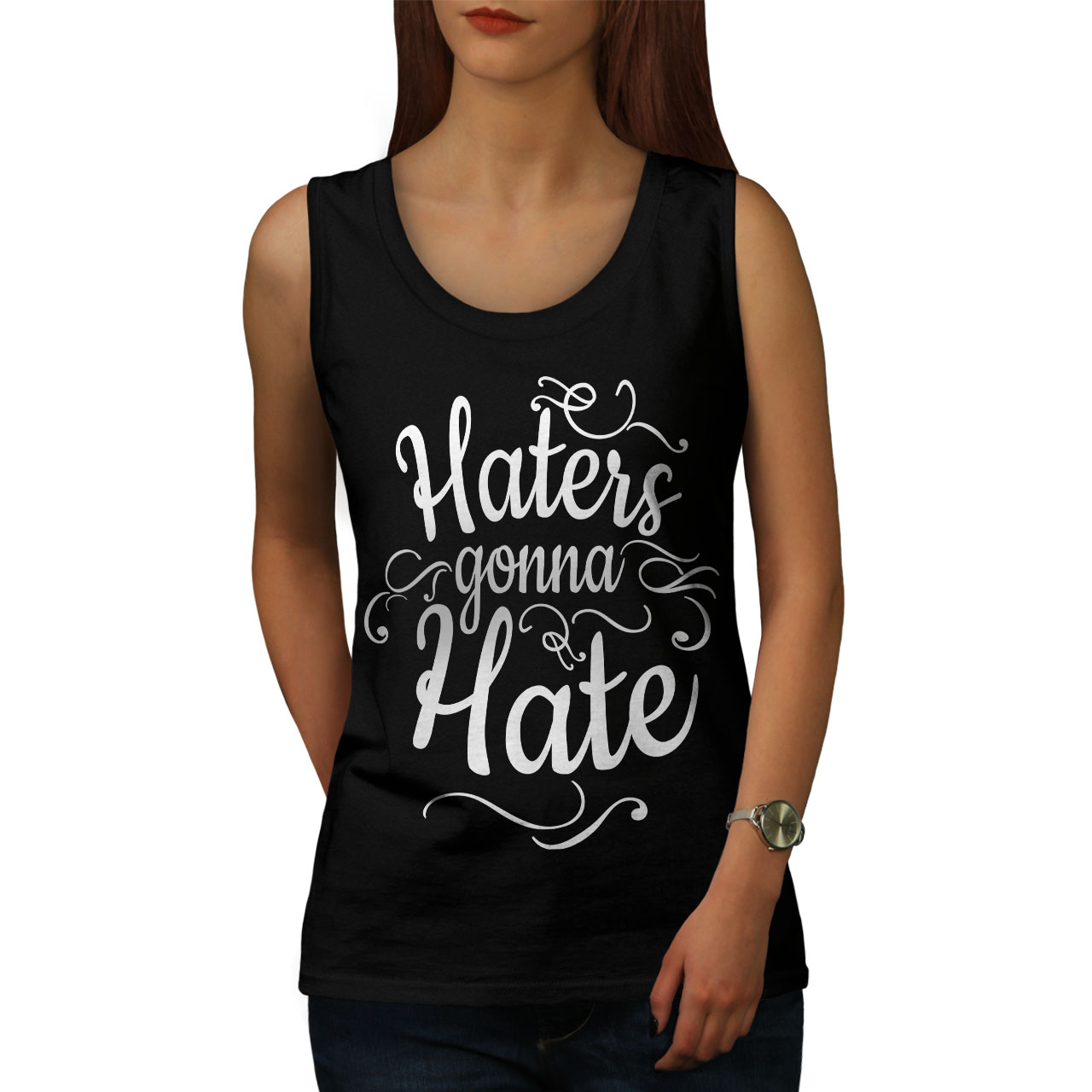 Wellcoda-Hasser-Gonna-Hate-Damen-Tank-Top-lustige-Athletic-Sportshirt Indexbild 6